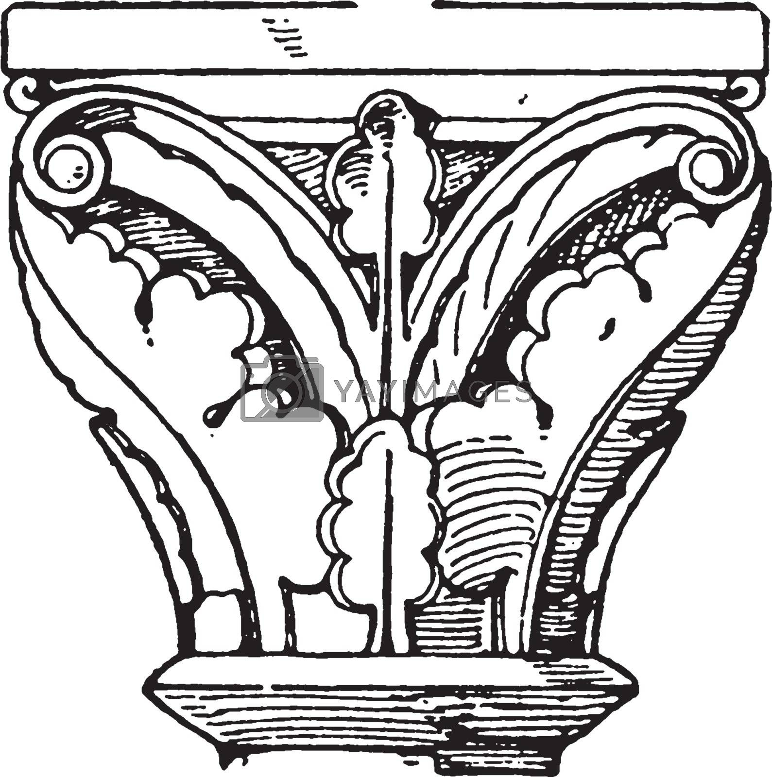 Romanesque Capital, is found in cloisters of a church,  vintage  by Morphart
