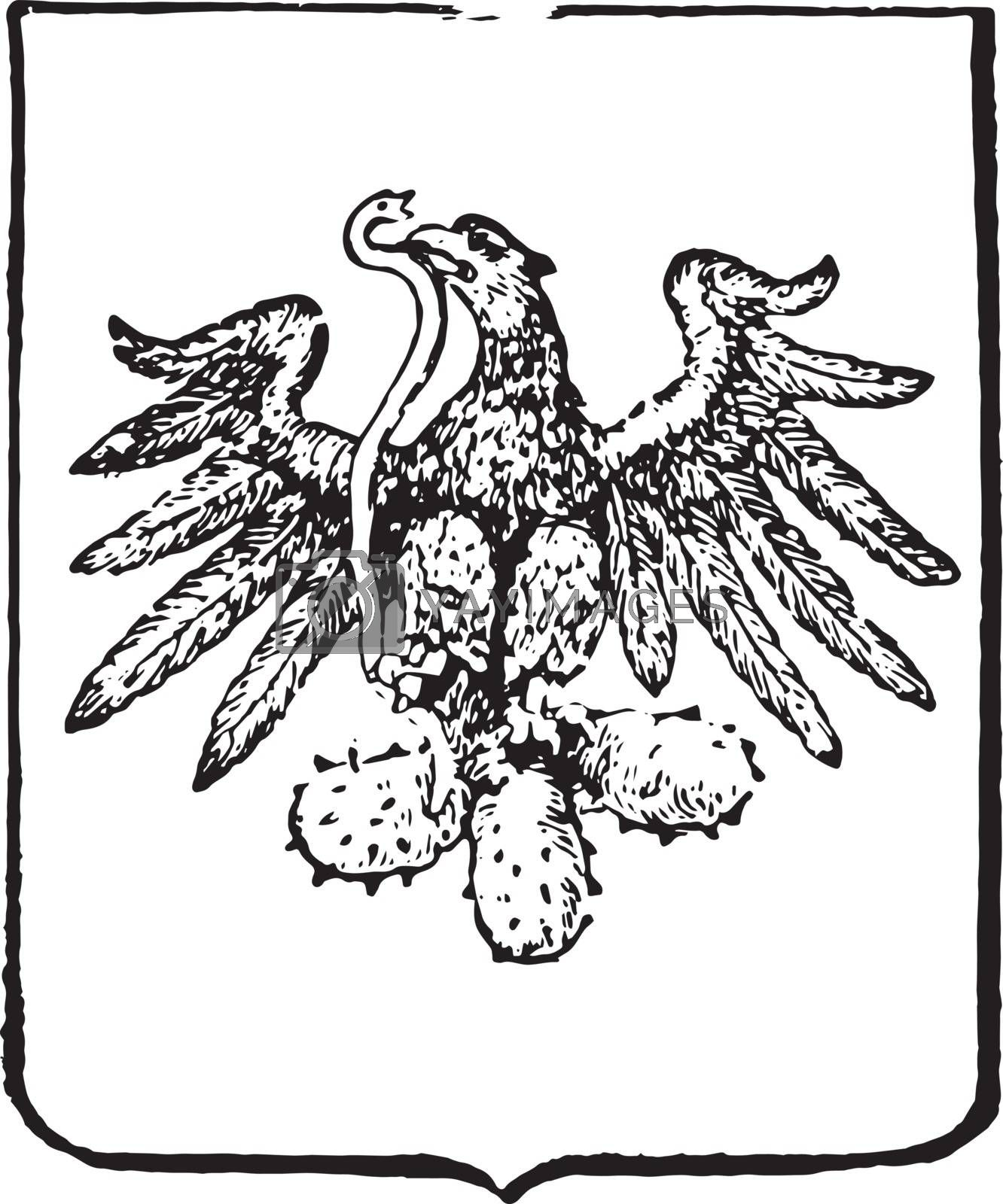 Mexican Coat of Arms is a South American coat, vintage engraving by Morphart