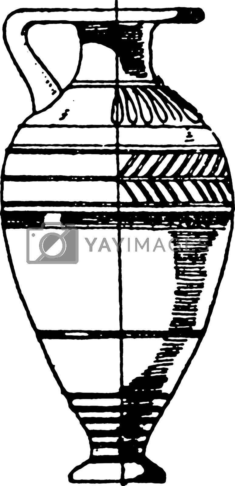 Greek Lekythos is a type of Ancient Greek vessel, vintage engrav by Morphart