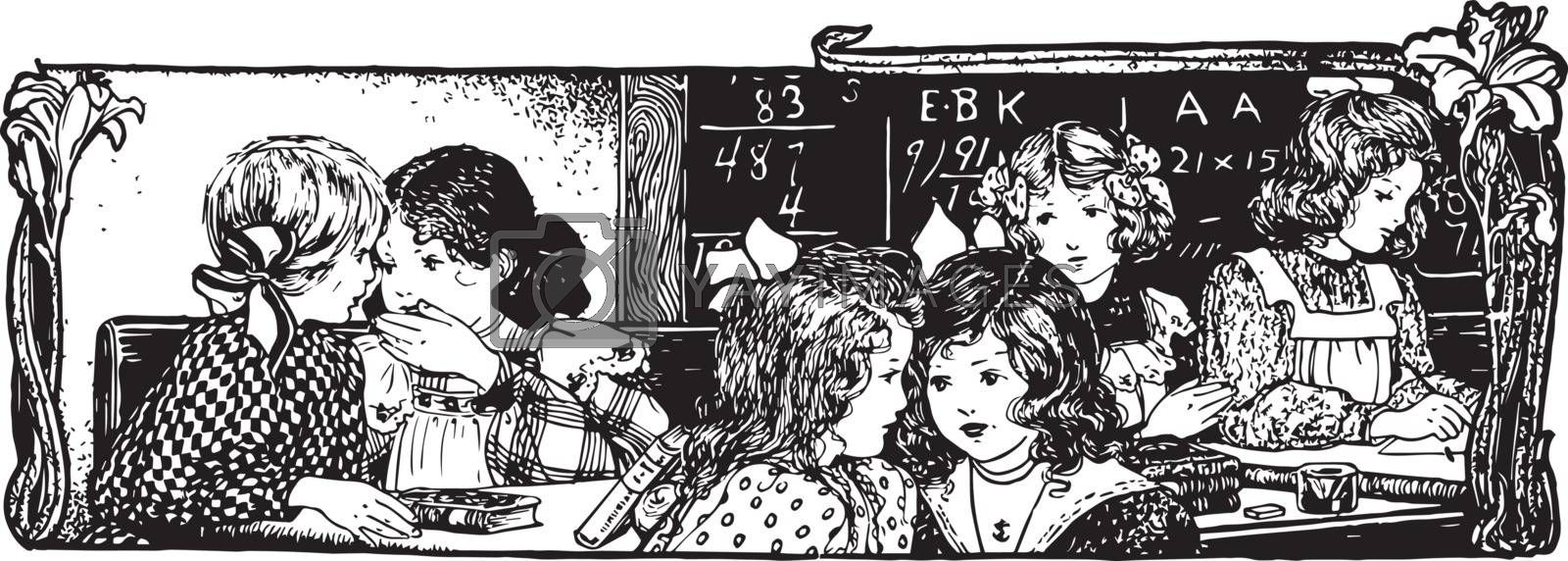 Classroom or telling secrets, vintage engraving. by Morphart