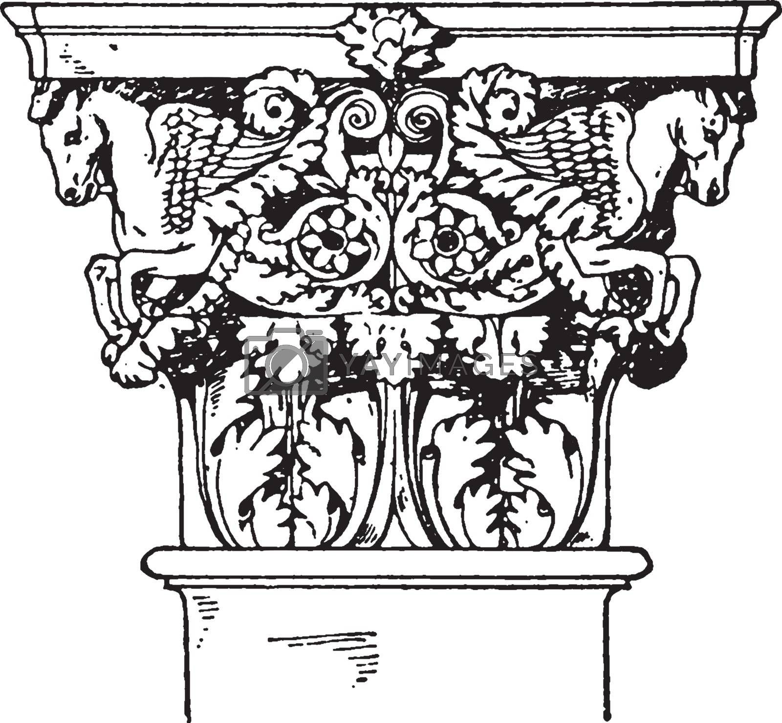 Roman-Corinthian Pilaster Capital, a leaf and floral design, vin by Morphart