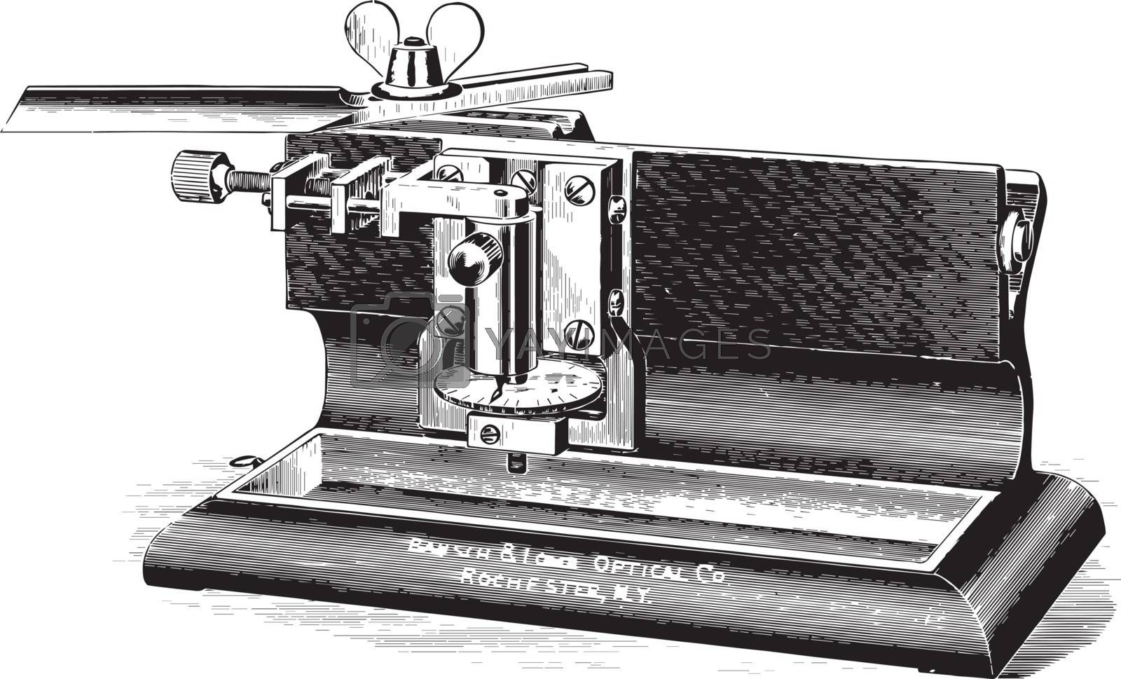 Sliding Microtome, vintage illustration. by Morphart