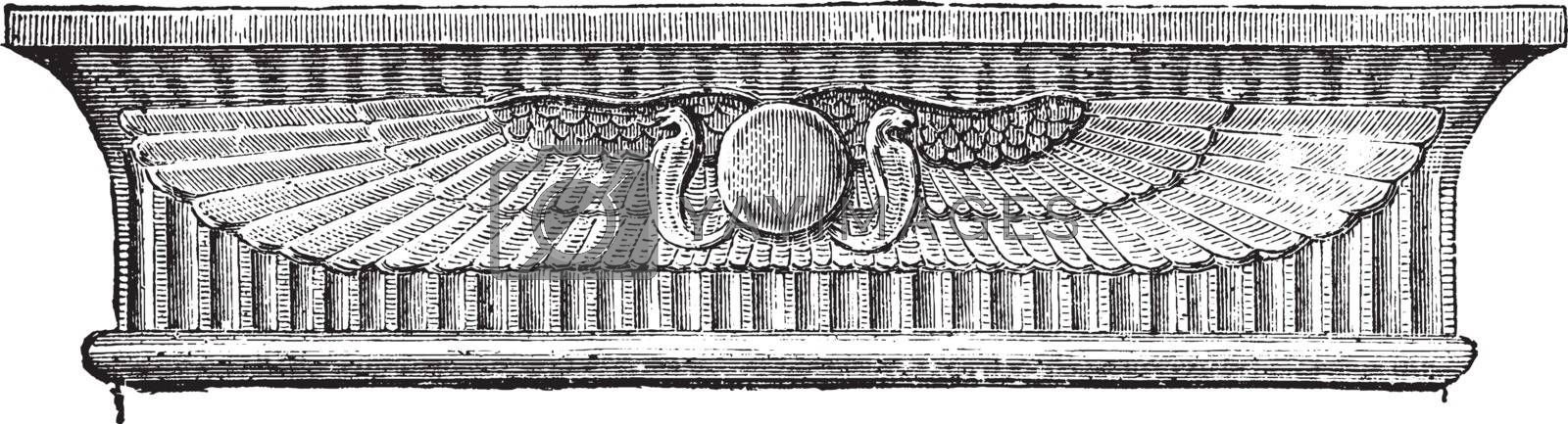 Architrave of Entablature over Doorway,  Great Temple, vintage e by Morphart