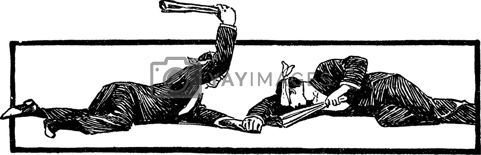 Cudgel Game vintage illustration.  by Morphart