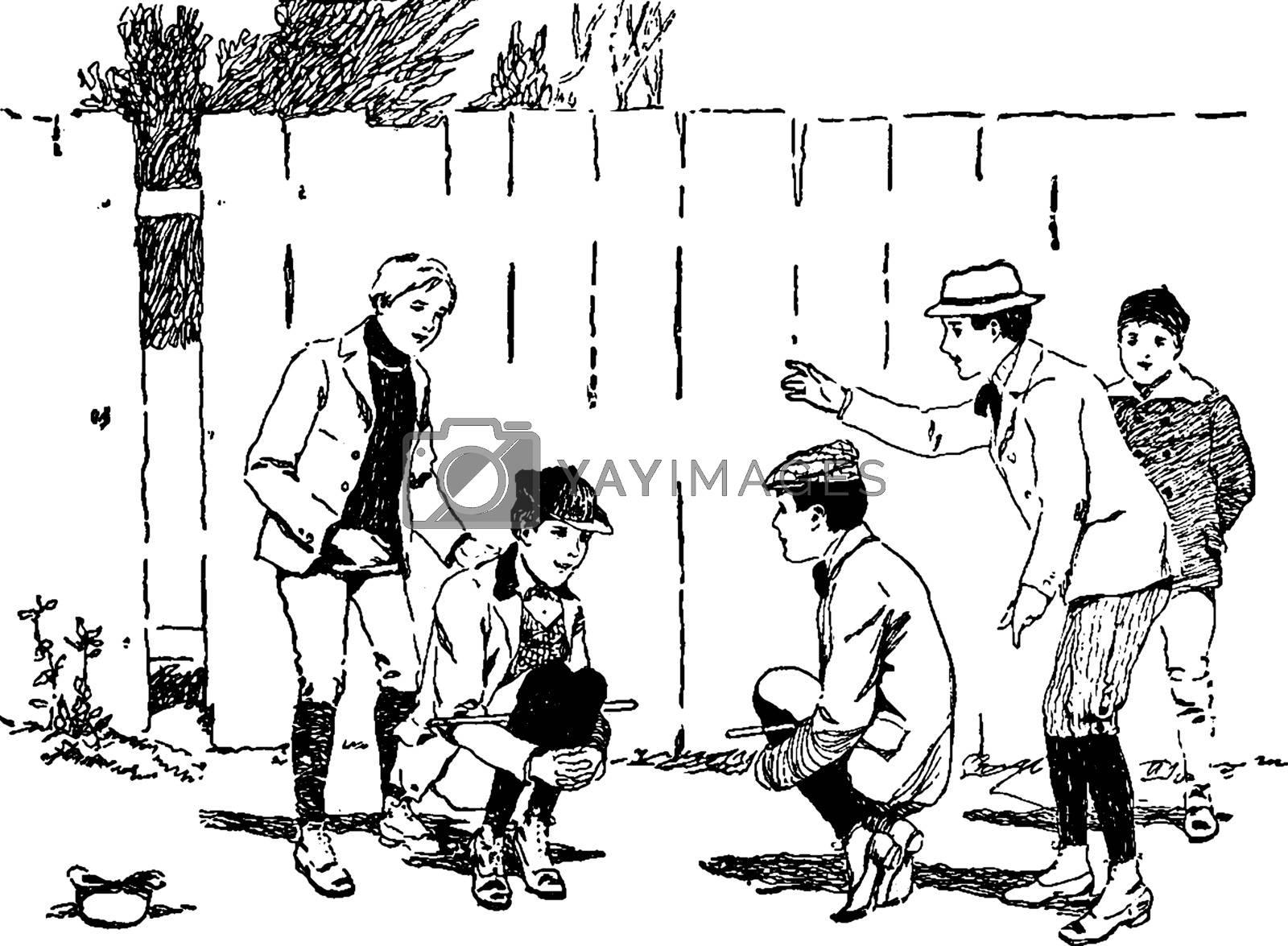 Cock-Fighting game vintage illustration.  by Morphart