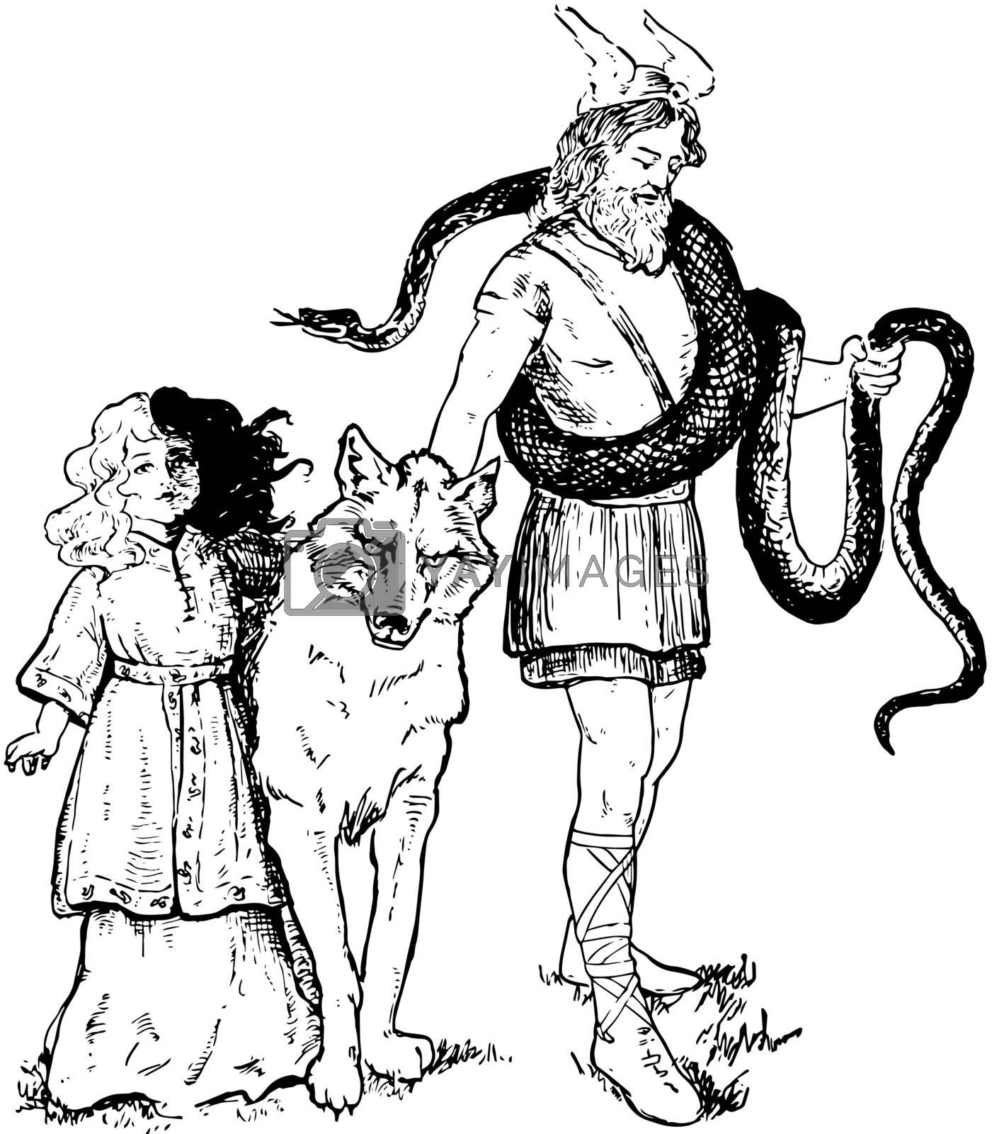The picture of Loki with his daughter, Hela and his pets. Wolf and snake is shown as pets. The body of Hela is shown two coloured, half white and half black, vintage line drawing or engraving illustration.