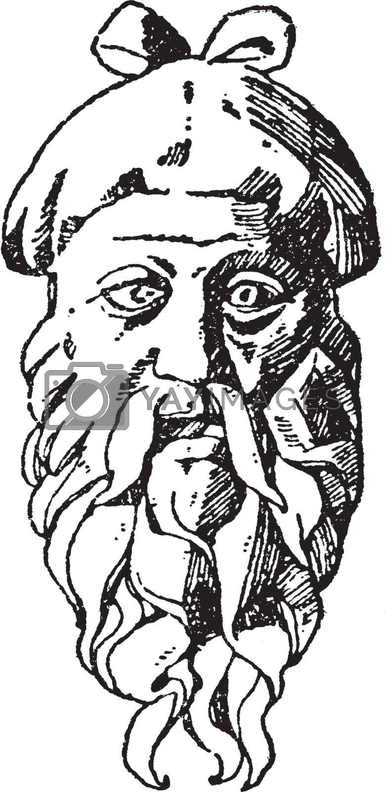 Mask Head is a Roman design, vintage engraving. by Morphart