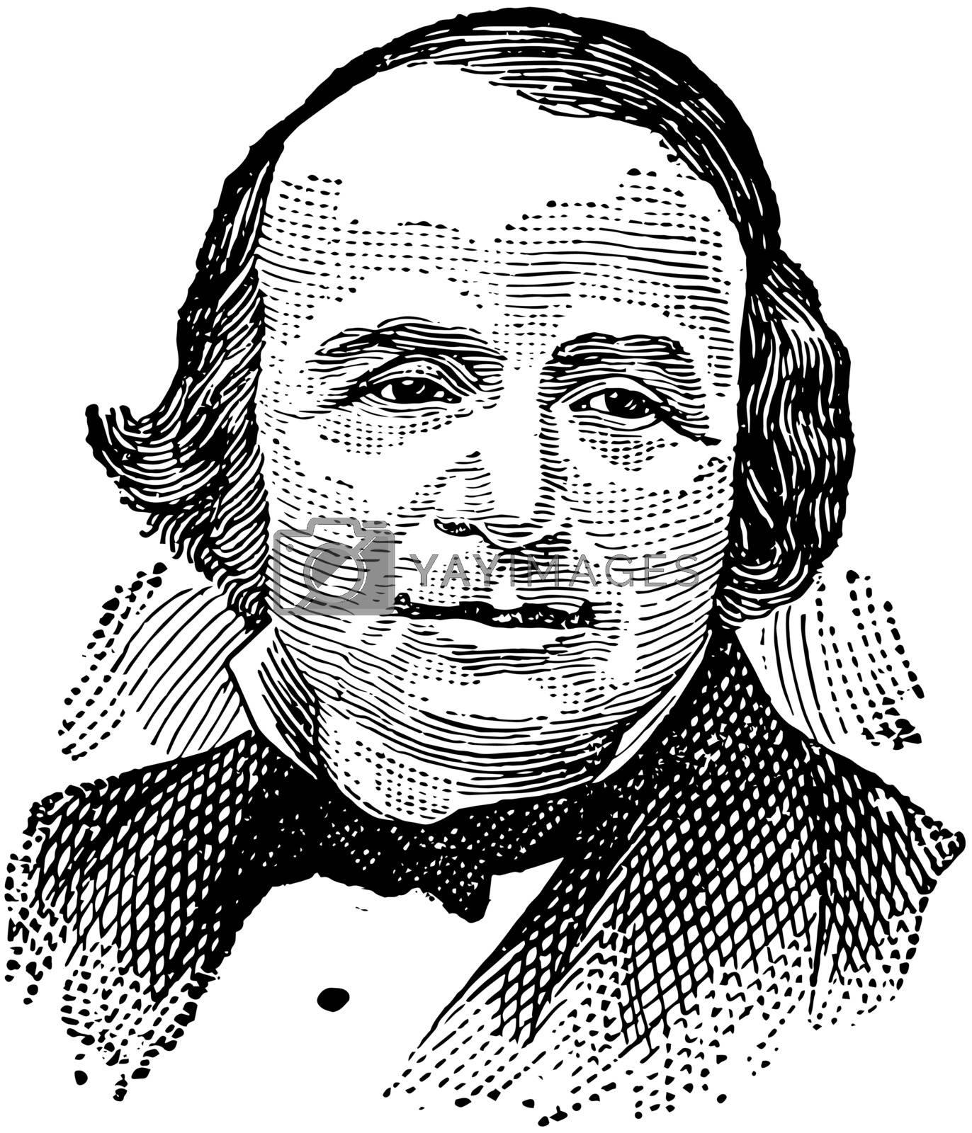 Louis Agassiz, vintage illustration by Morphart