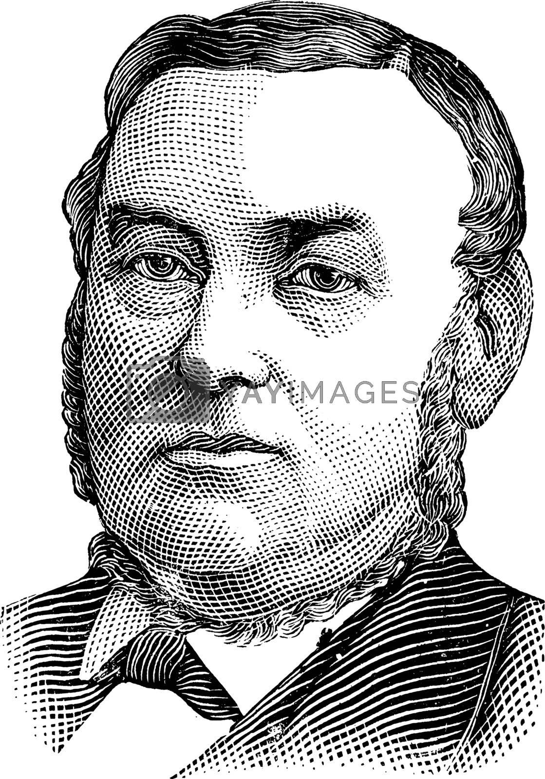 George W. Childs, vintage illustration by Morphart