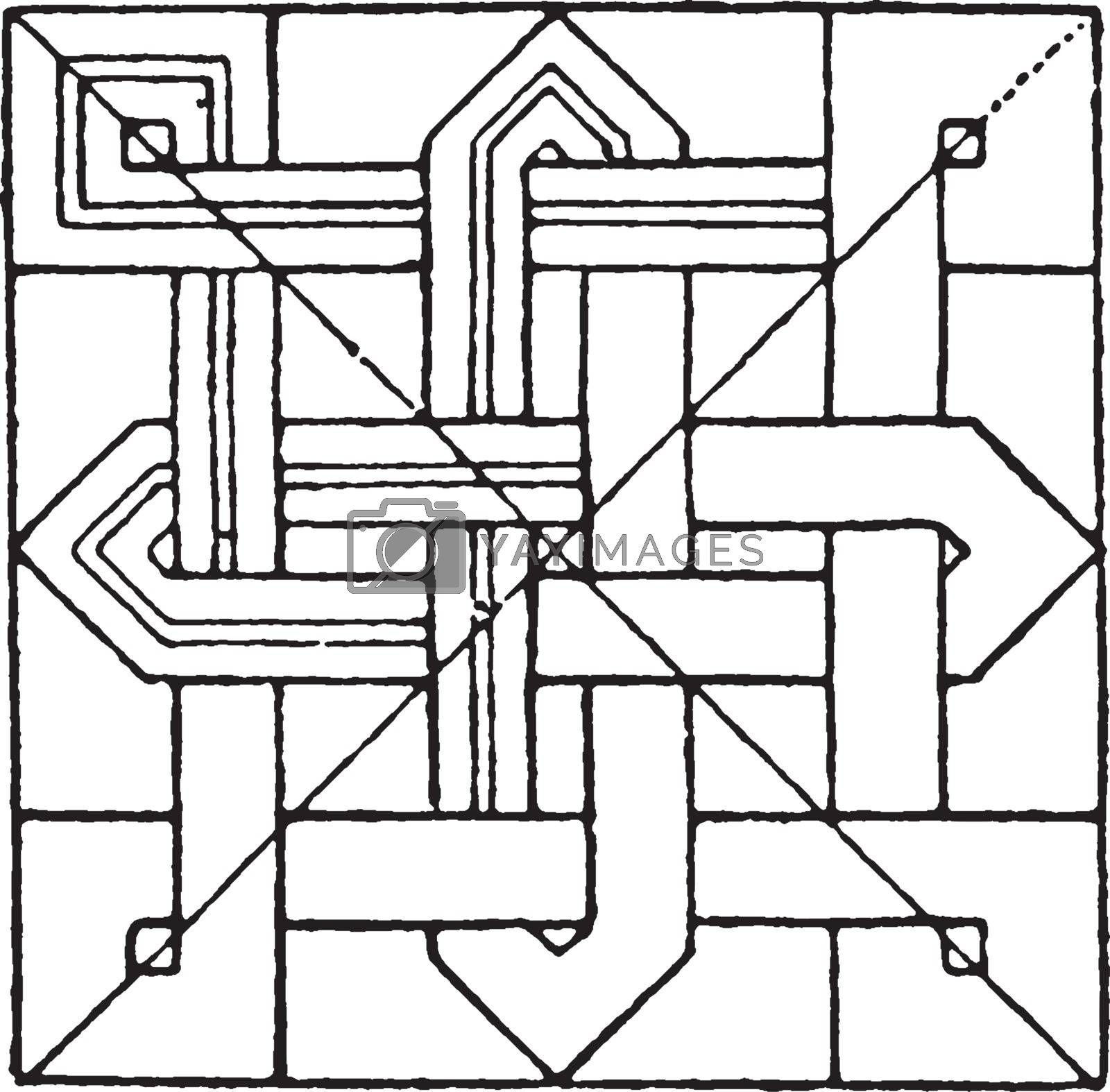 Inlaid Work Square Panel have a traditional design, vintage engr by Morphart