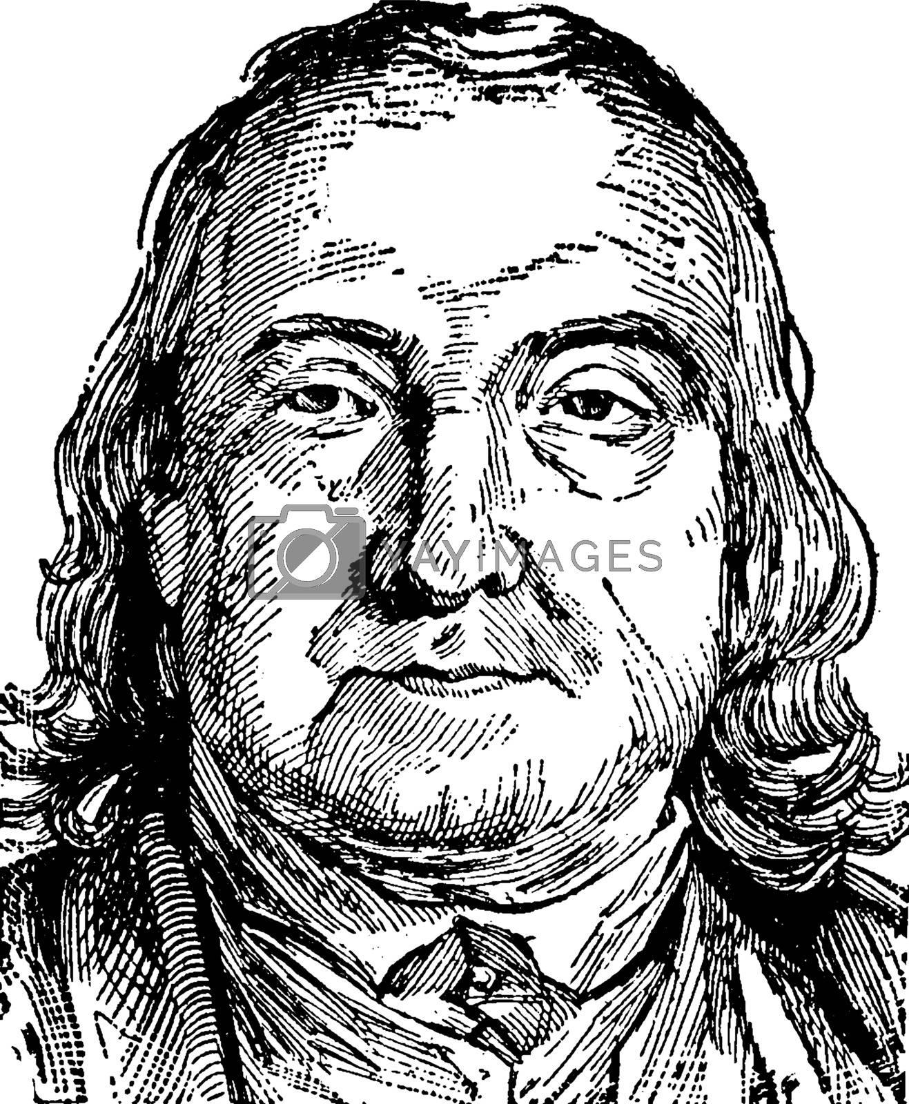 Jeremy Bentham, vintage illustration by Morphart