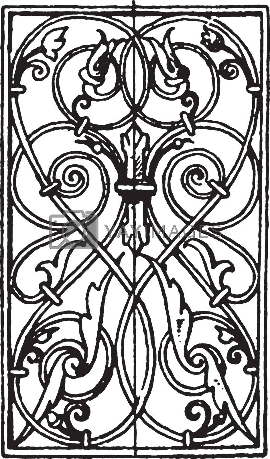 Wrought-Iron Oblong Panel is German Renaissance design, vintage  by Morphart