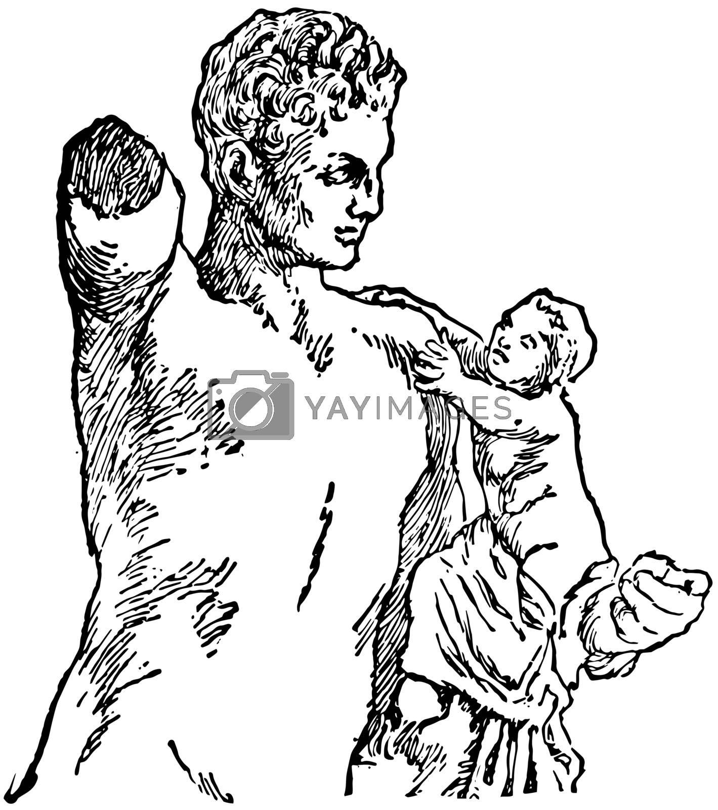 Hermes vintage illustration.  by Morphart