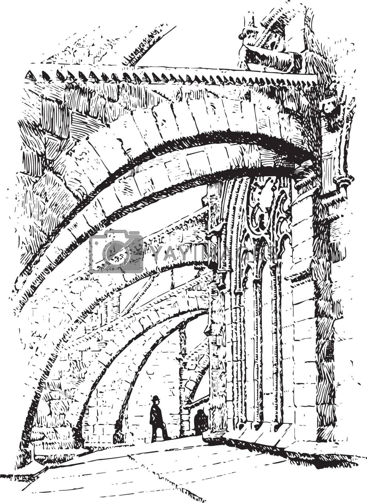 Flying Buttresses  of Notre Dame, Paris, vintage engraving. by Morphart