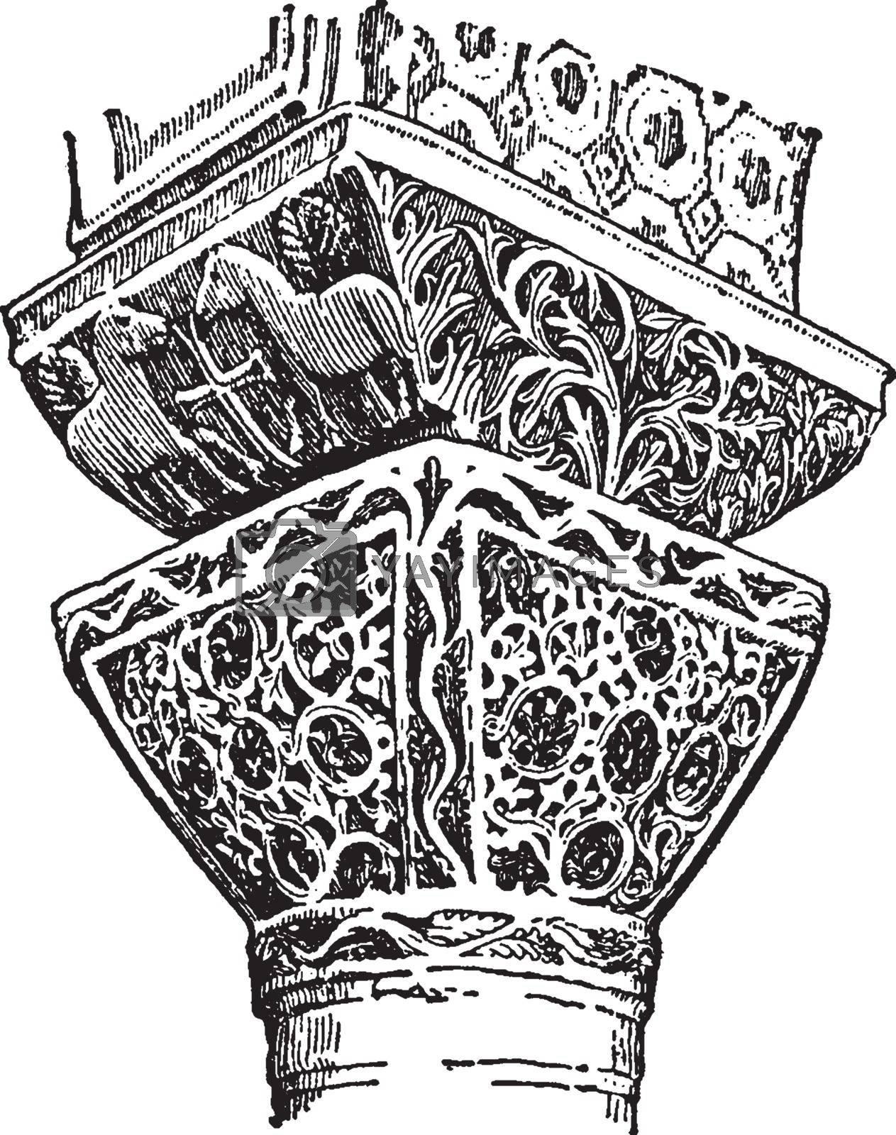 Byzantine Capitals is from the Church of St. Vitale, vintage eng by Morphart