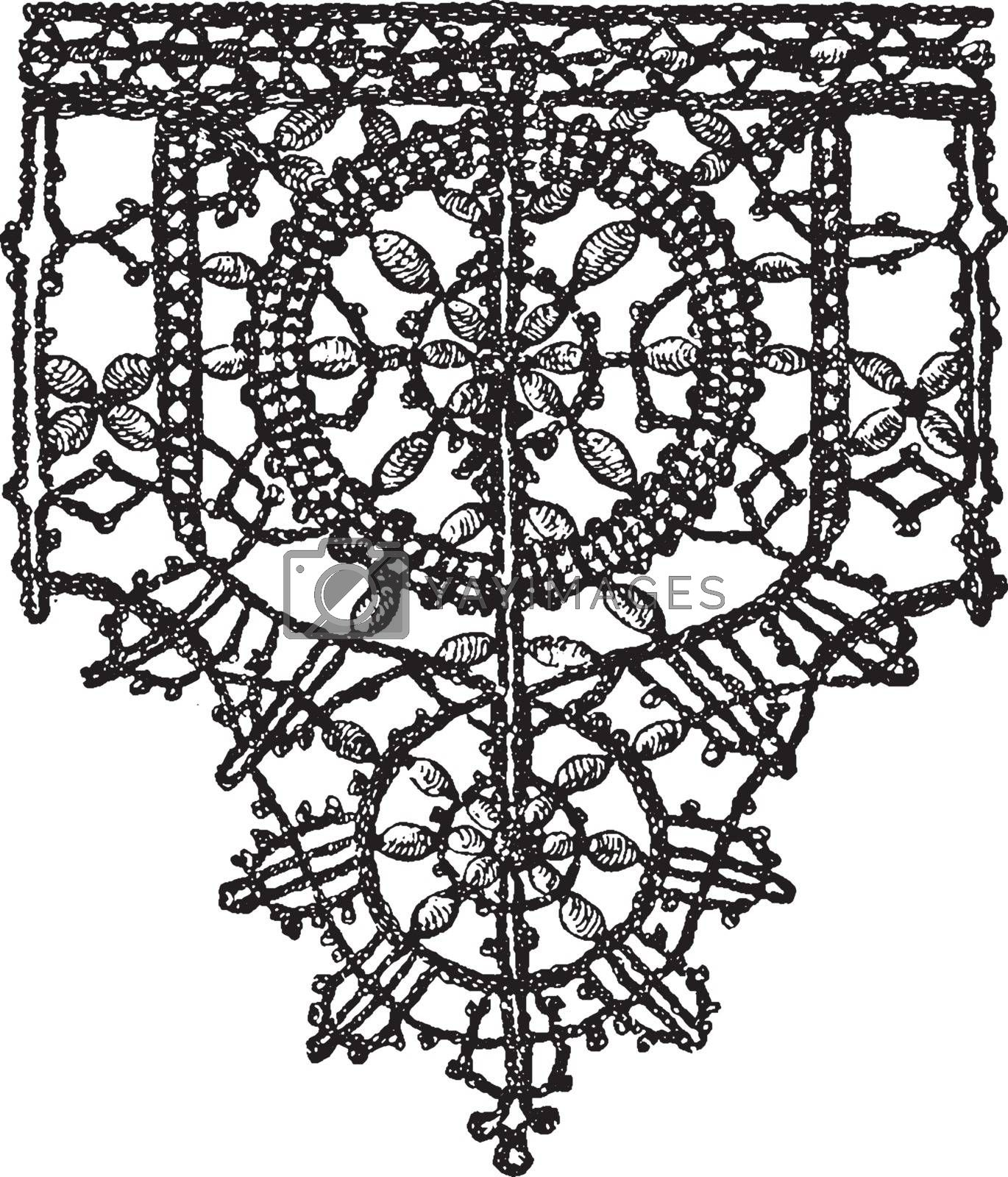 Point Noue Lace Border  is a 15th century design, vintage engrav by Morphart