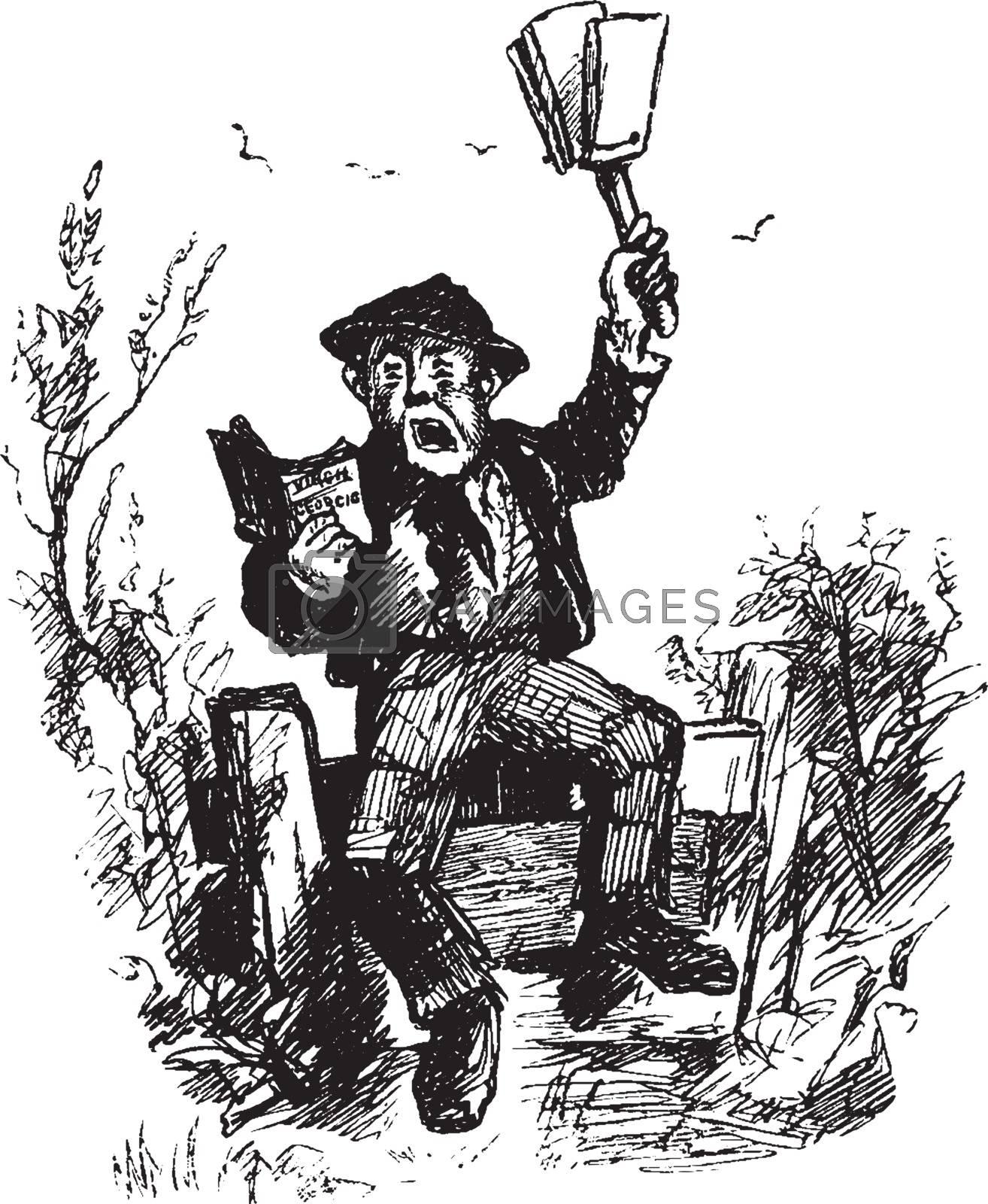 Man Reading Book, aloud,  vintage engraving by Morphart