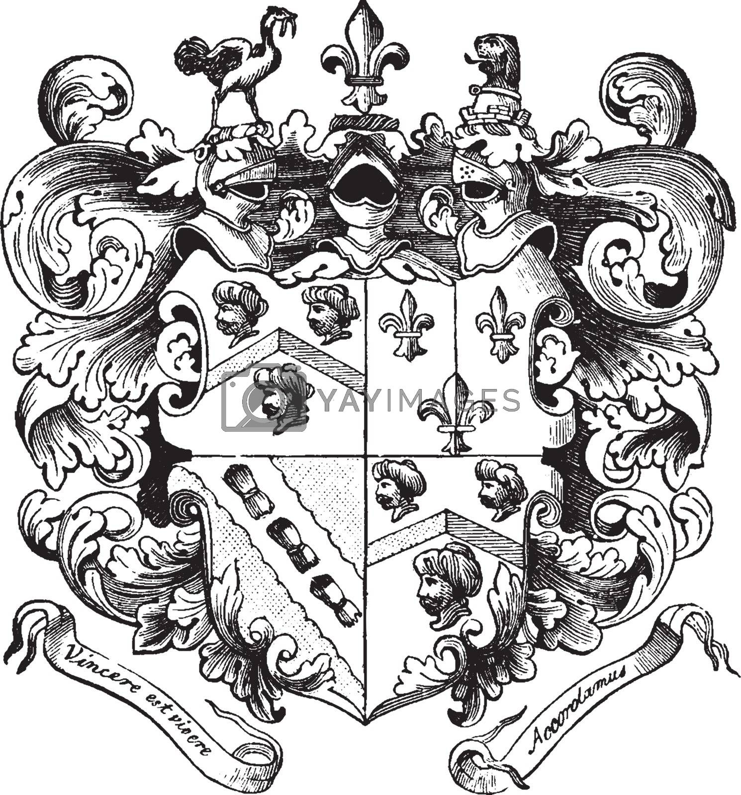 Smith's Coat of Arms of Captain John Smith, vintage engraving. by Morphart