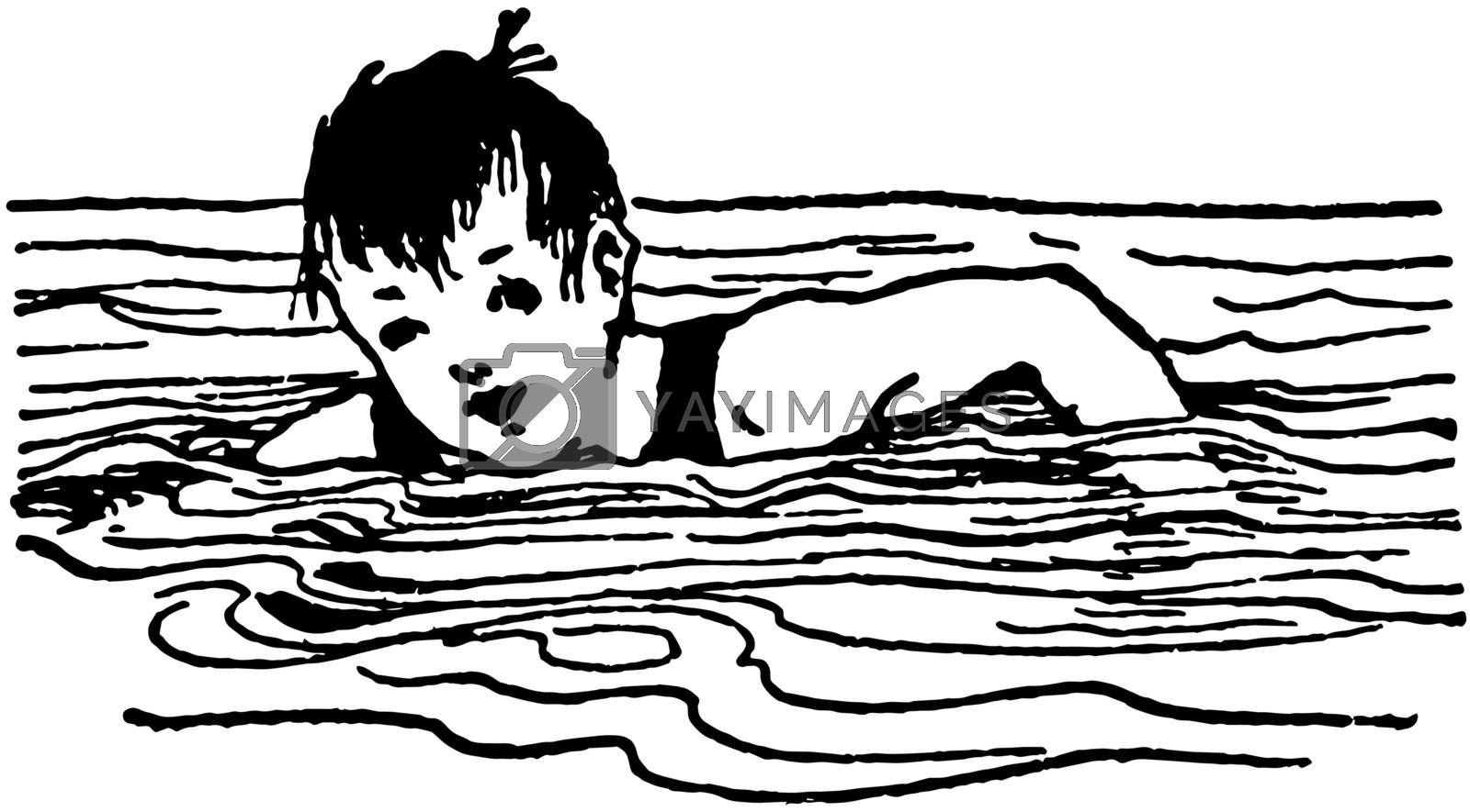 Young Boy Swimming vintage illustration.  by Morphart