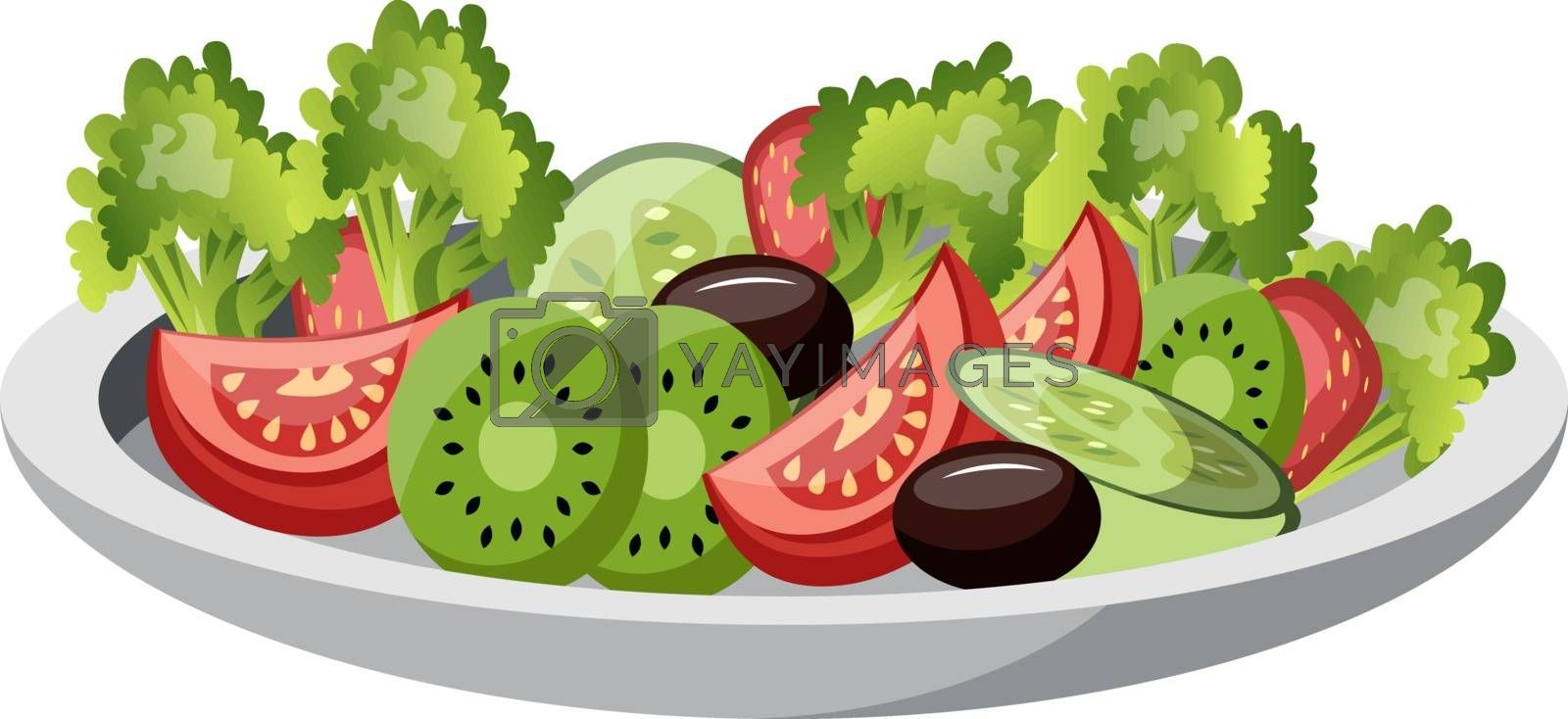 Fruits Plate vector color illustration. by Morphart