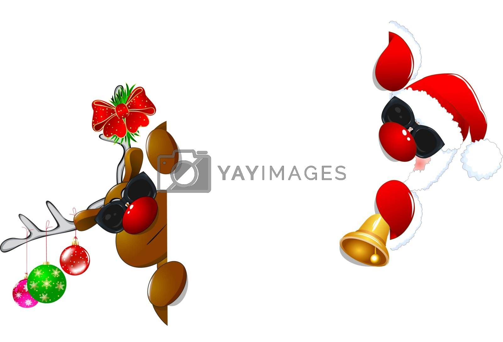 Santa and a reindeer in sunglasses by liolle