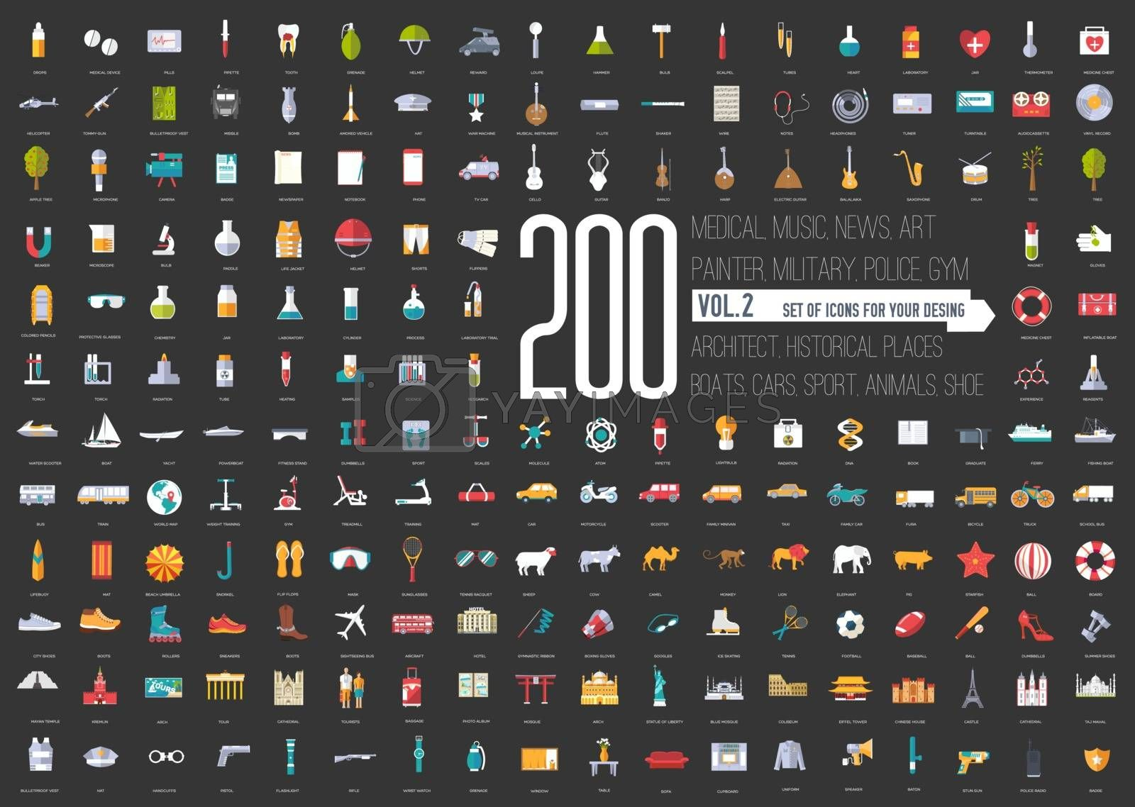 Flat big collection set icons of medical, army, war, shoe, nature, news, draw, police, rafting, room, science, boat sport gym car animal summer tool country For infographic illustration