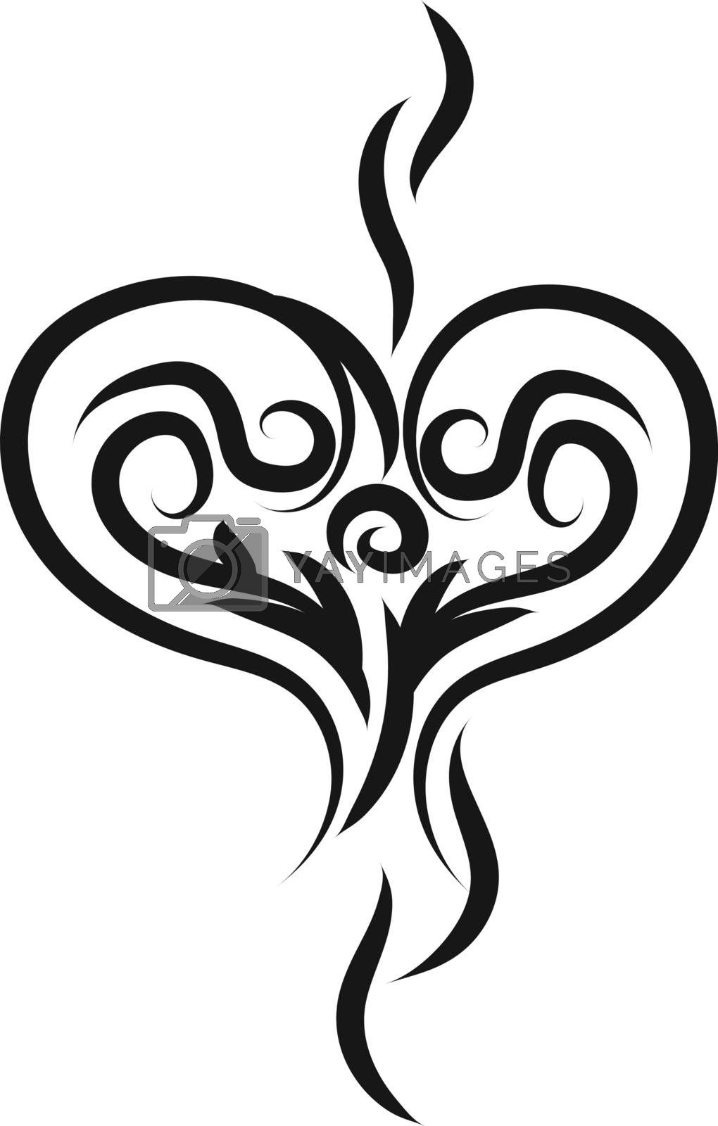 Heart tattoo sketch, illustration, vector on white background.