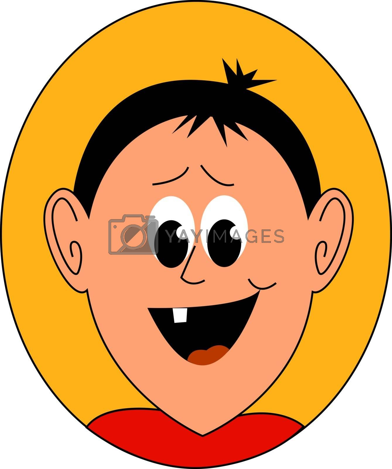Boy with broken tooth, illustration, vector on white background.