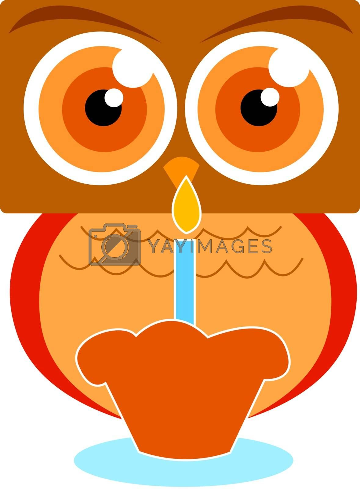 Owl with cake, illustration, vector on white background