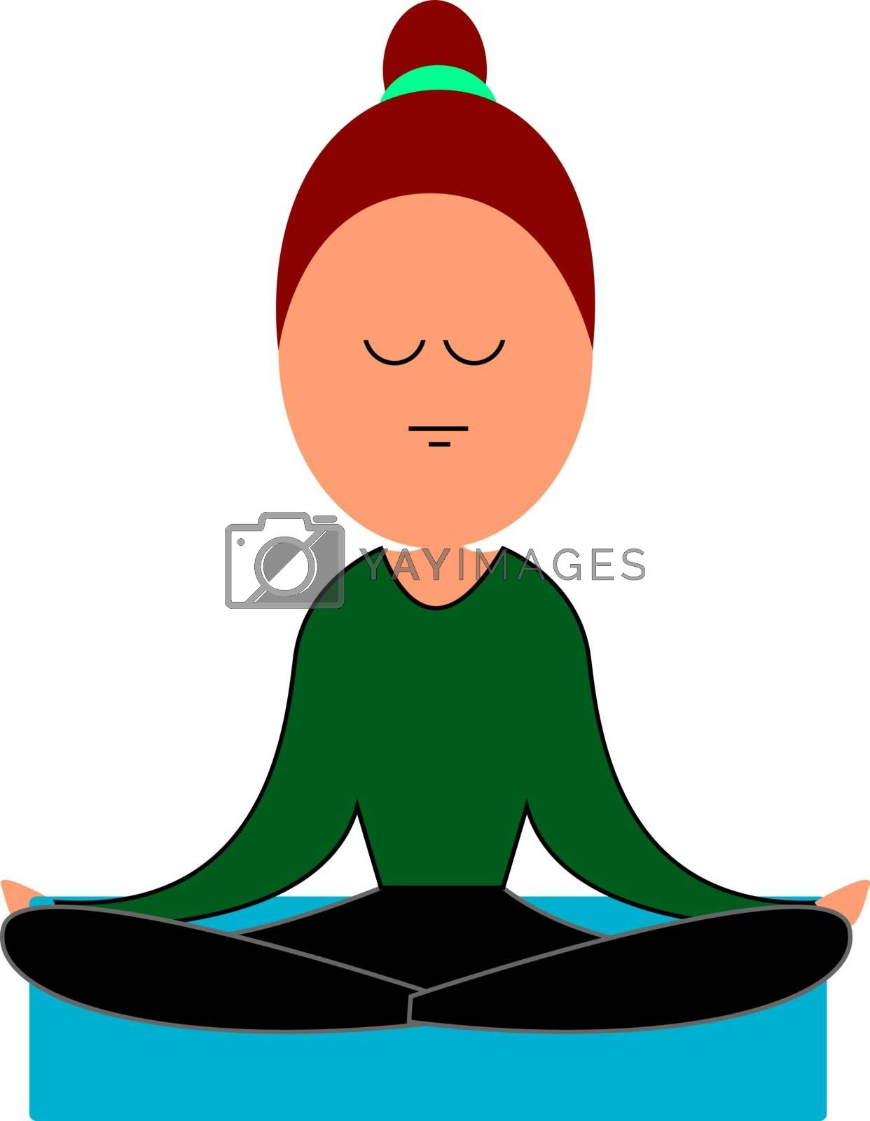 Woman doing yoga, illustration, vector on white background.