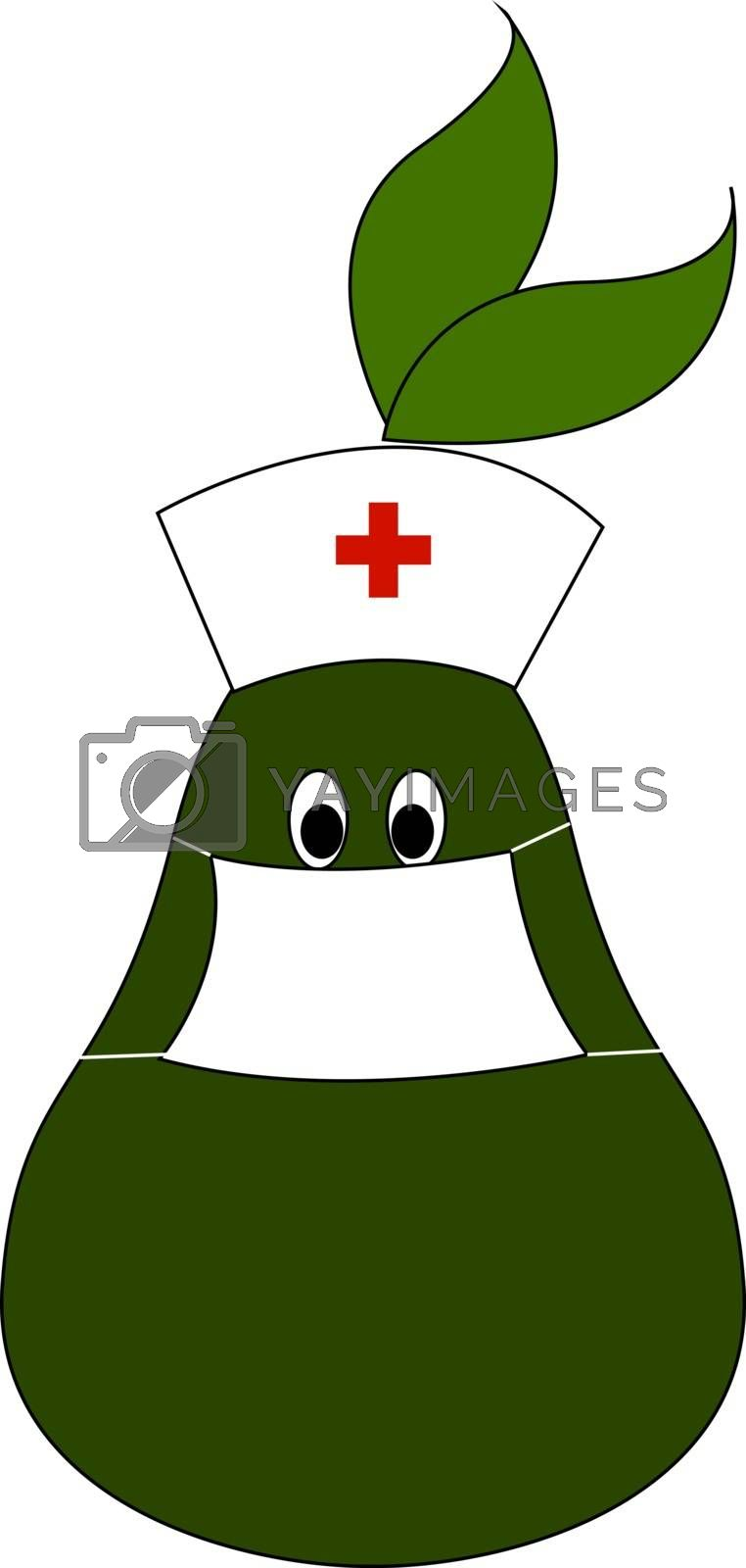 Doctor pear, illustration, vector on white background.