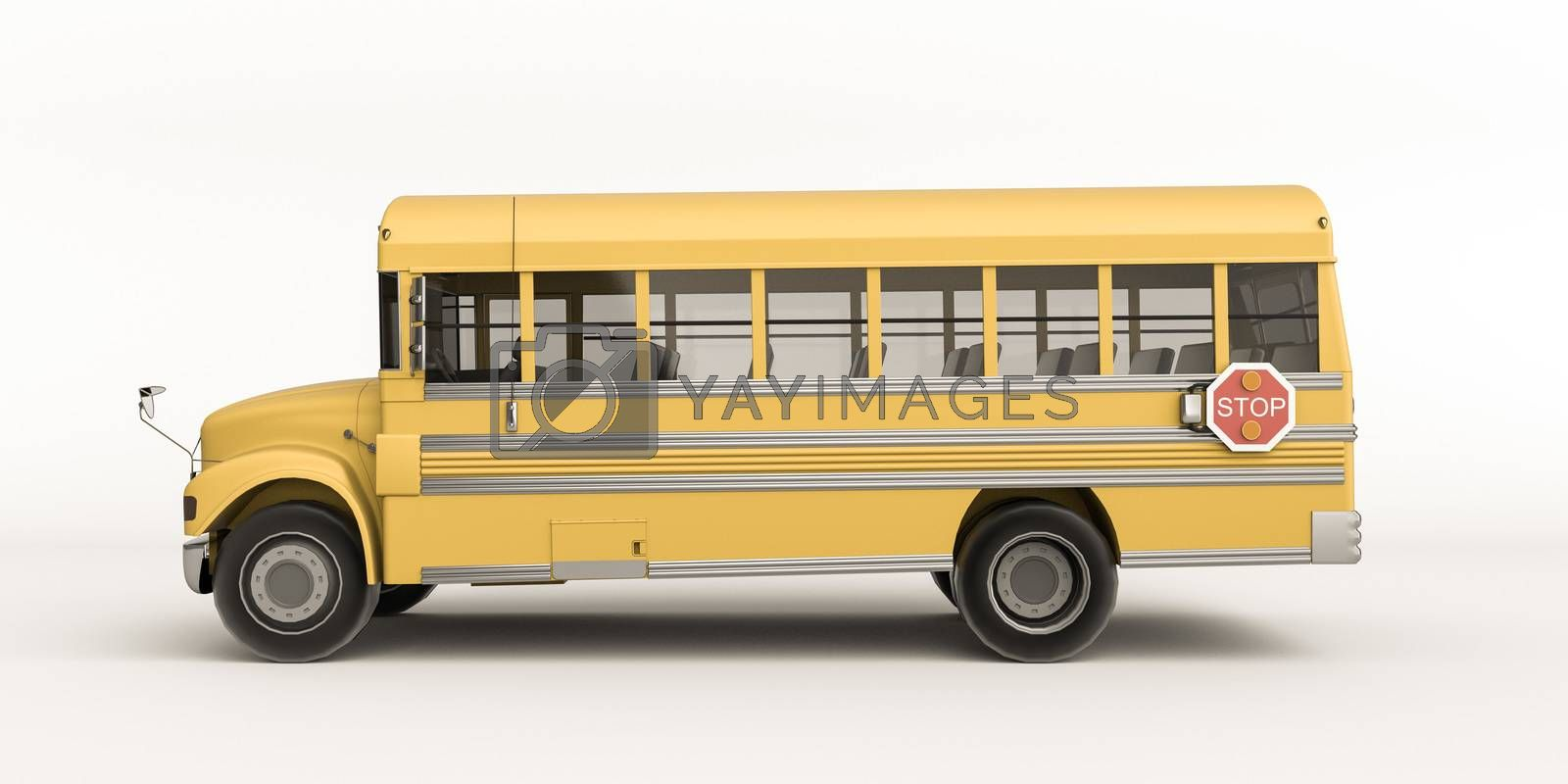 school bus isolated on white background 3d illustration