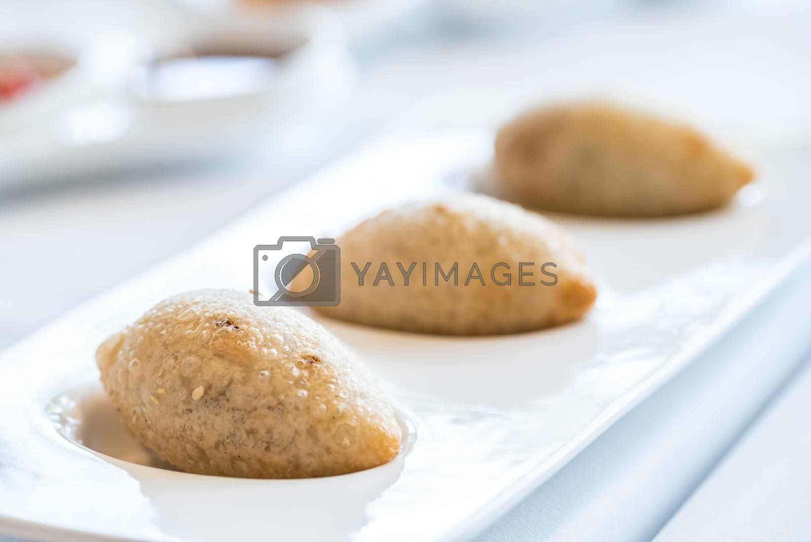 Chinese dim sum deep Fried BBQ Pork dumplings - Chinese groumet cuisine