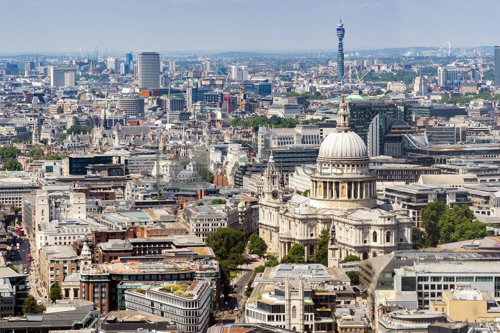 St paul cathedral London UK. Aerial View