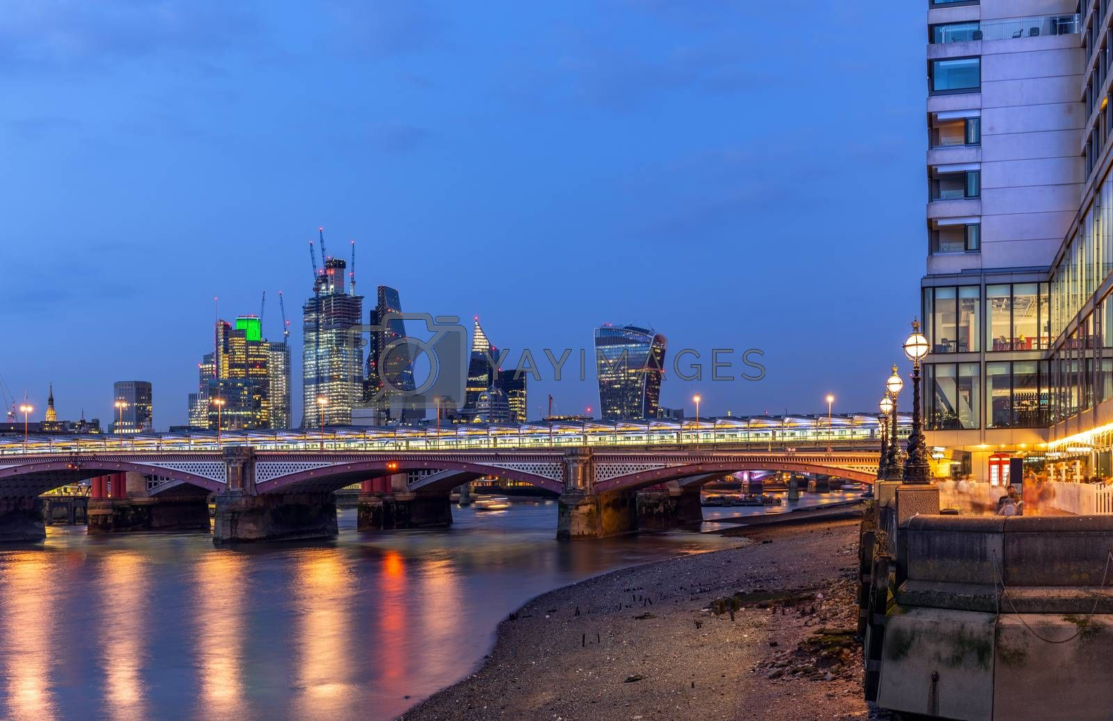Panoramic of London downtown building with river thames sunset twilight in London UK.