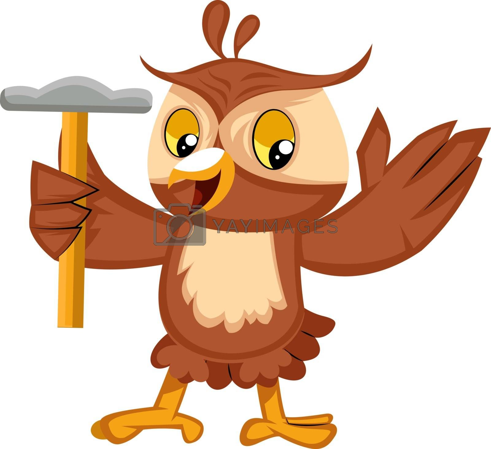 Owl with hammer, illustration, vector on white background.