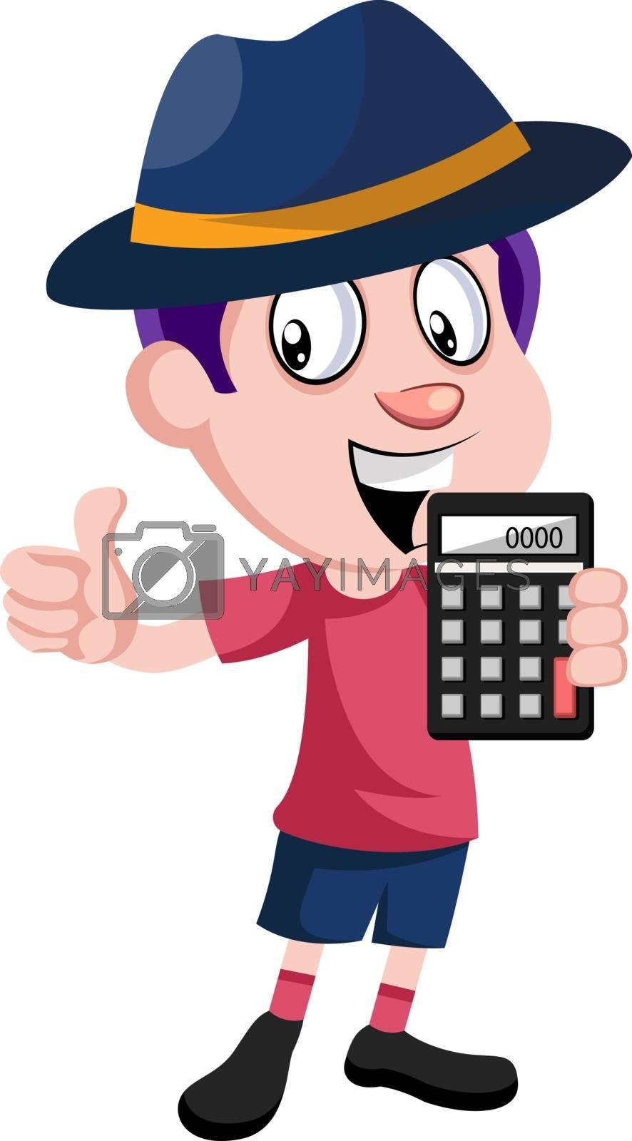 Boy holding calculator, illustration, vector on white background.
