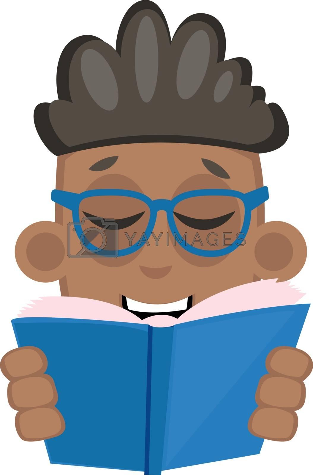 Boy reading book, illustration, vector on white background.