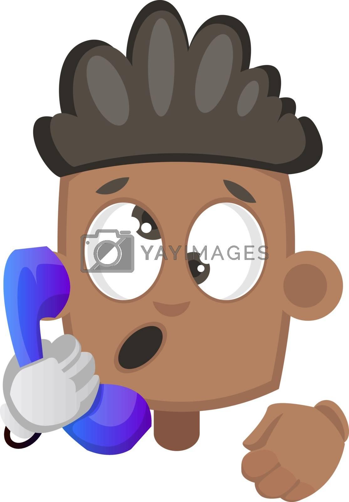 Boy speaking on telephone, illustration, vector on white background.