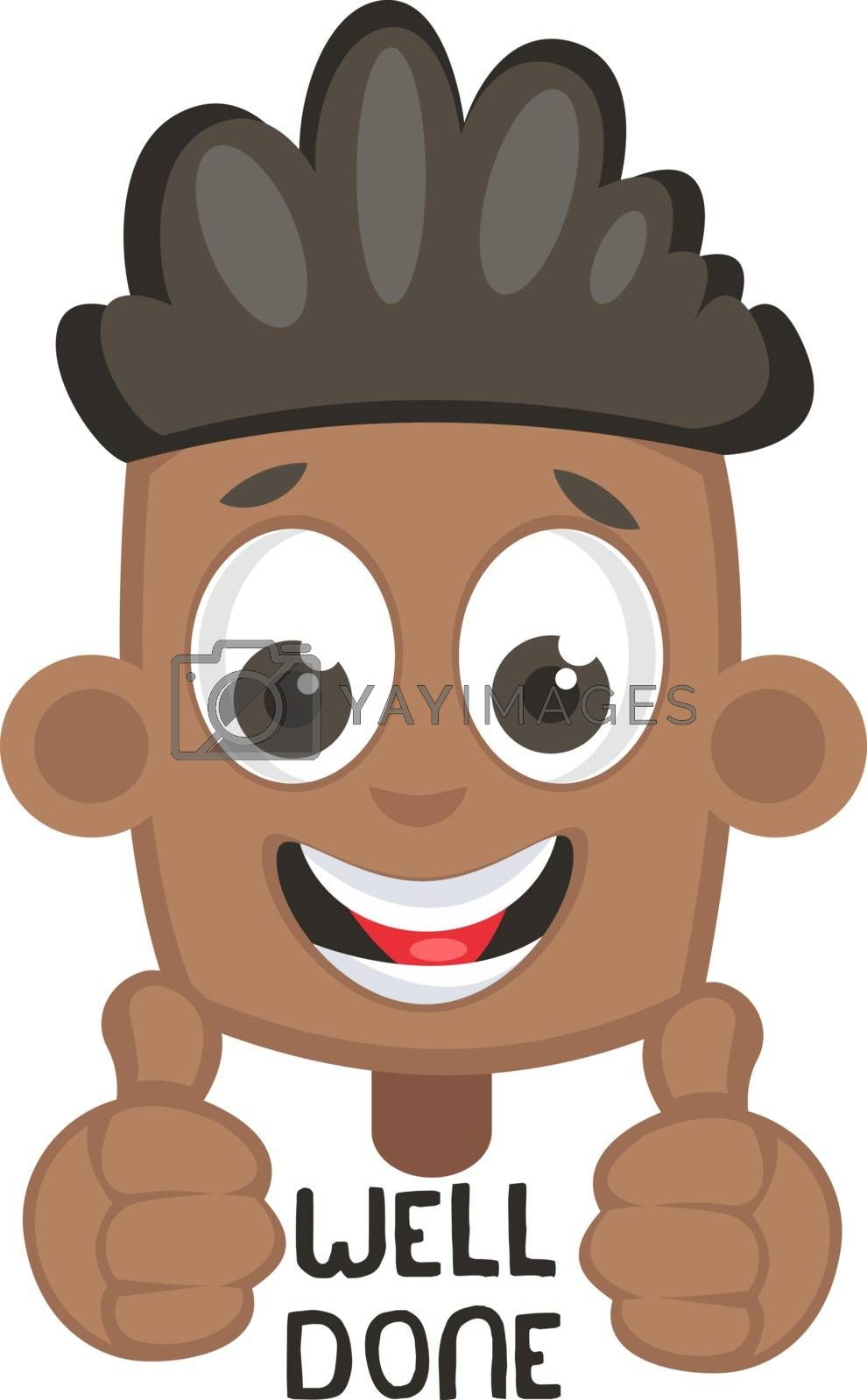 Boy showing well done sign, illustration, vector on white background.