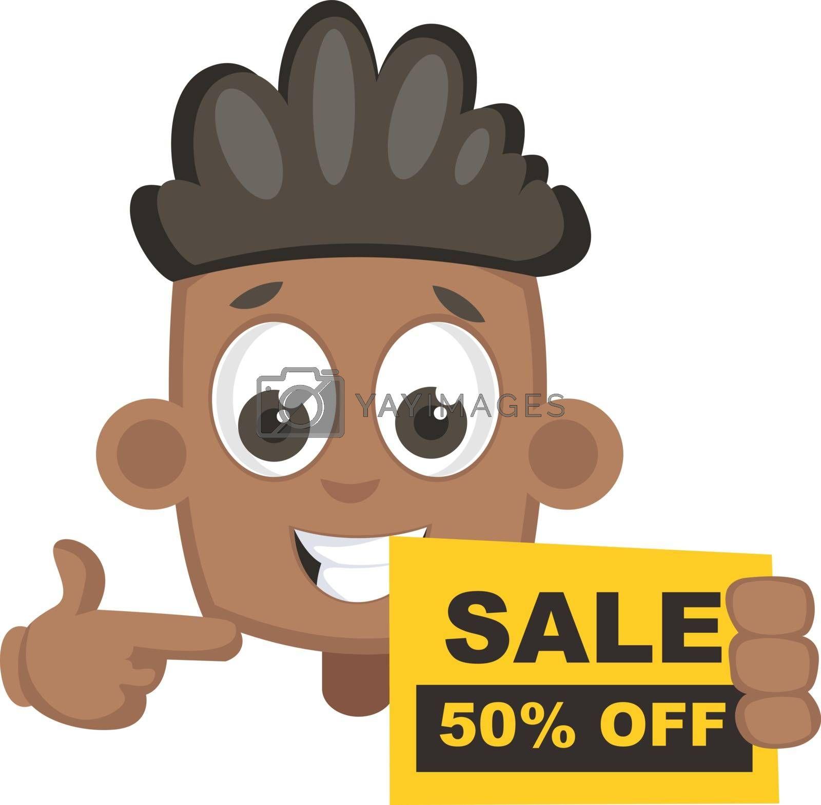 Boy with sale sign, illustration, vector on white background.