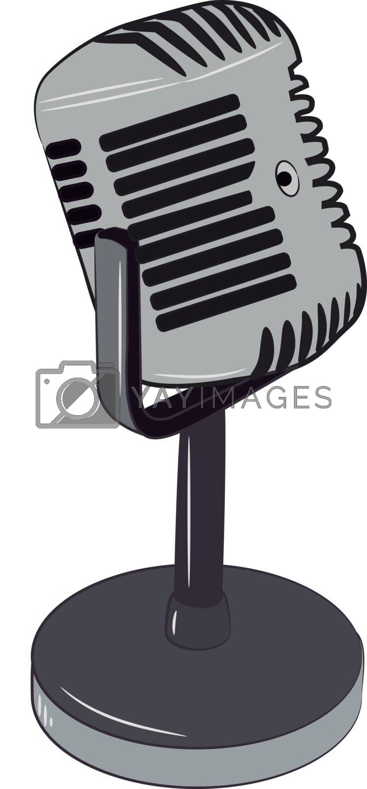 A grey microphone with stand to speak or record music vector color drawing or illustration