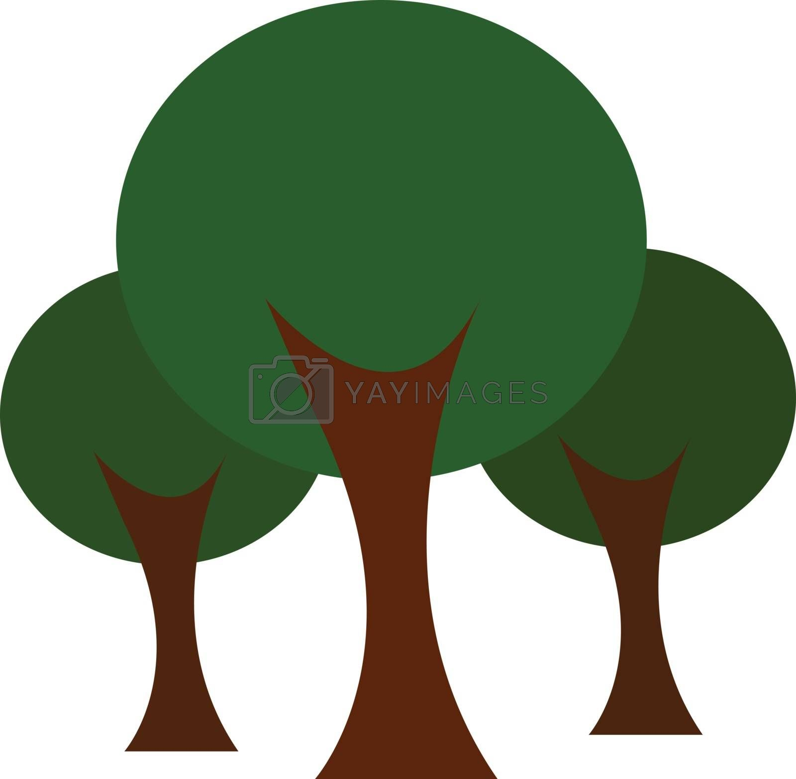 Clipart of forest with long standing trees vector color drawing or illustration