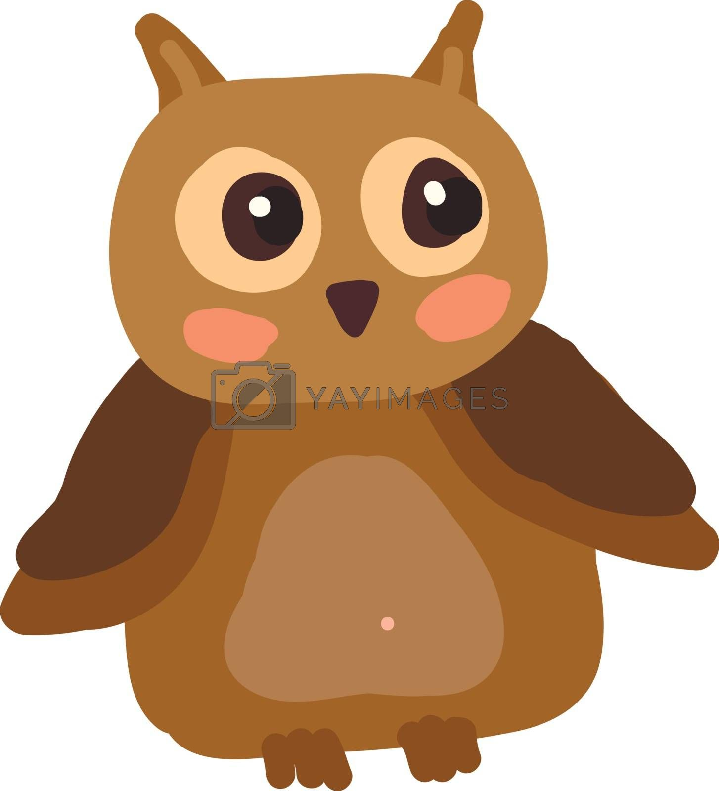 A drawing of an owl with big shinny eyes looking towards its left vector color drawing or illustration