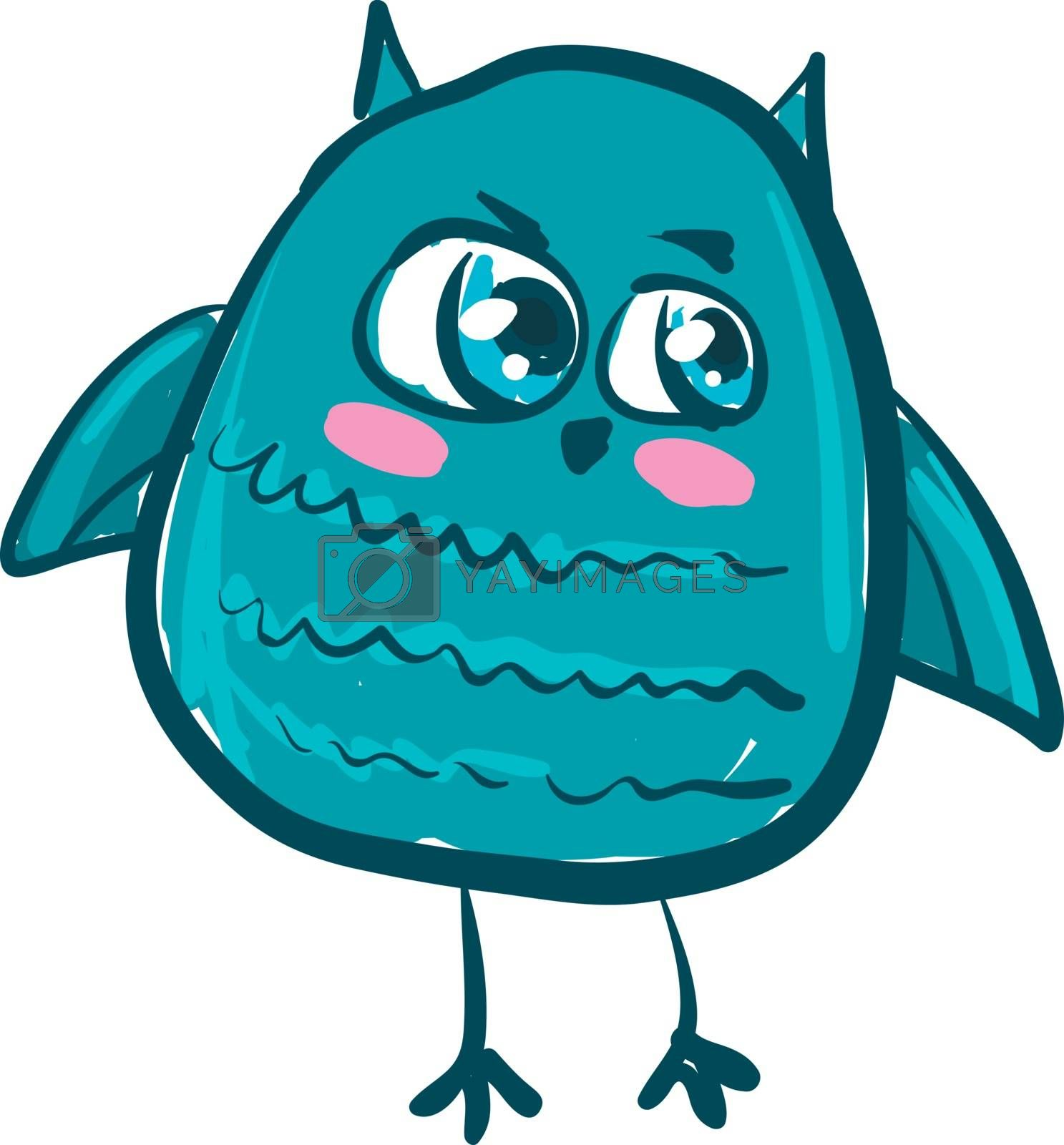A sea green colored owl with long legs an big blue shinny eyes vector color drawing or illustration