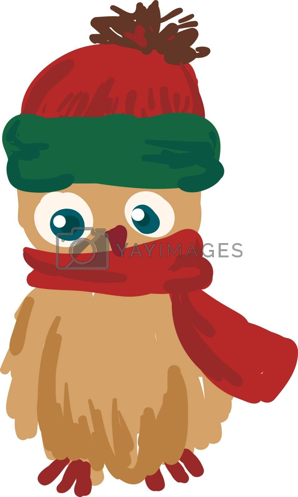 A brown colored owl with red nose wearing red scarf vector color drawing or illustration
