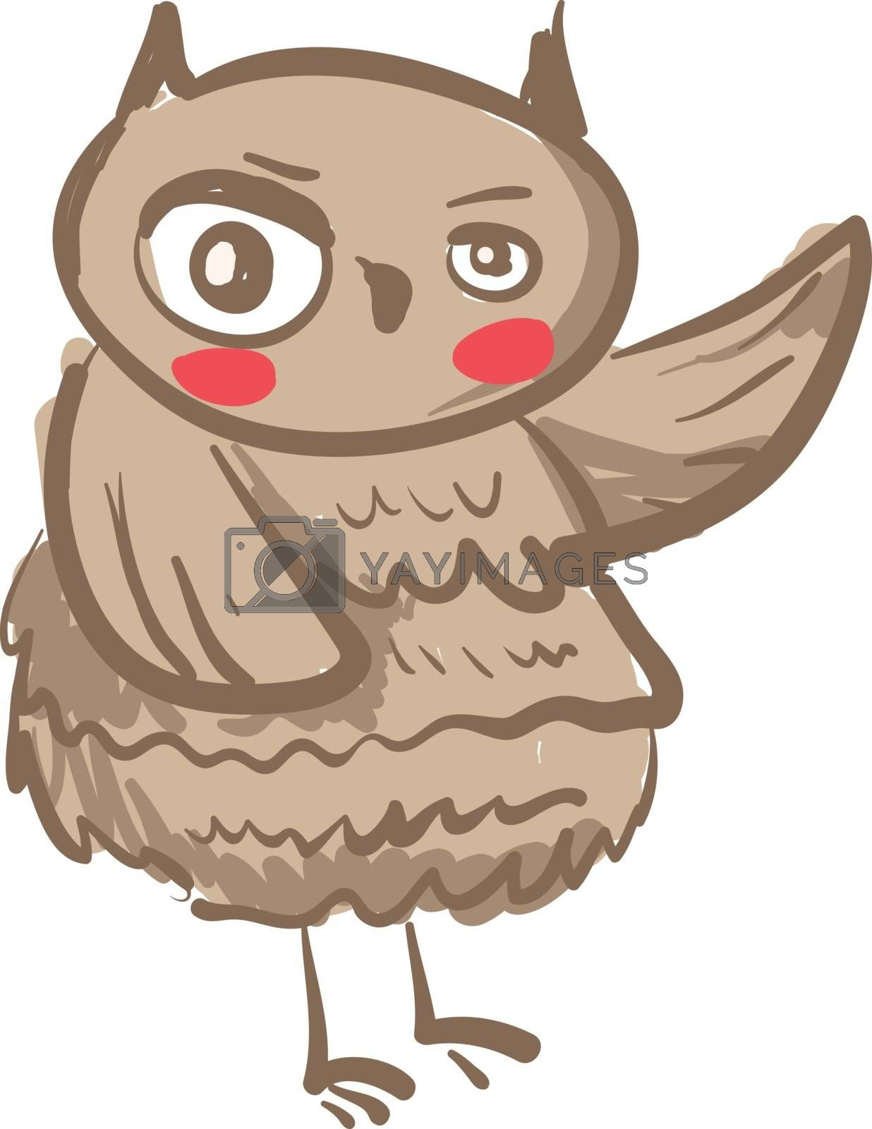 An image of an owl with uneven size of eyes waving his left hand vector color drawing or illustration