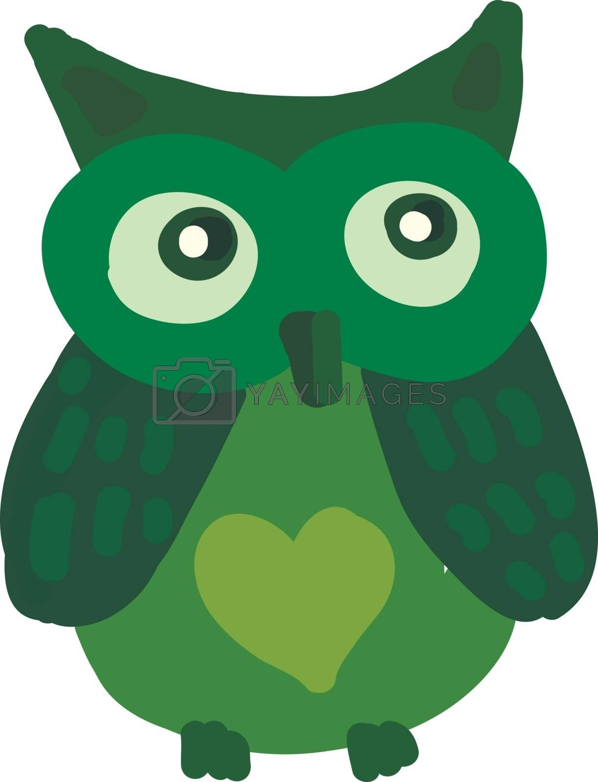 An image of a green owl with a heart drawn on its stomach vector color drawing or illustration