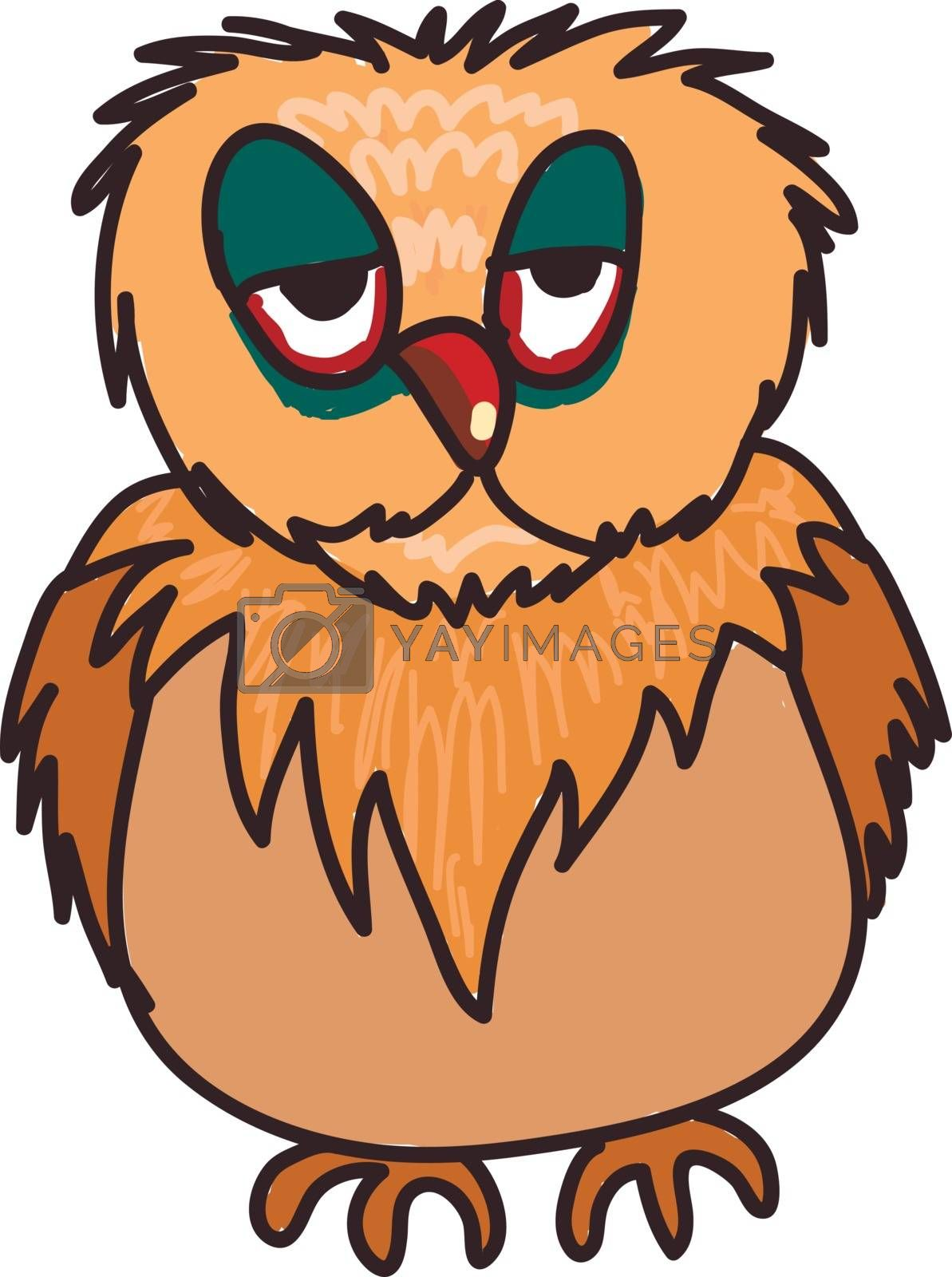 A sleep deprived brown owl vector color drawing or illustration