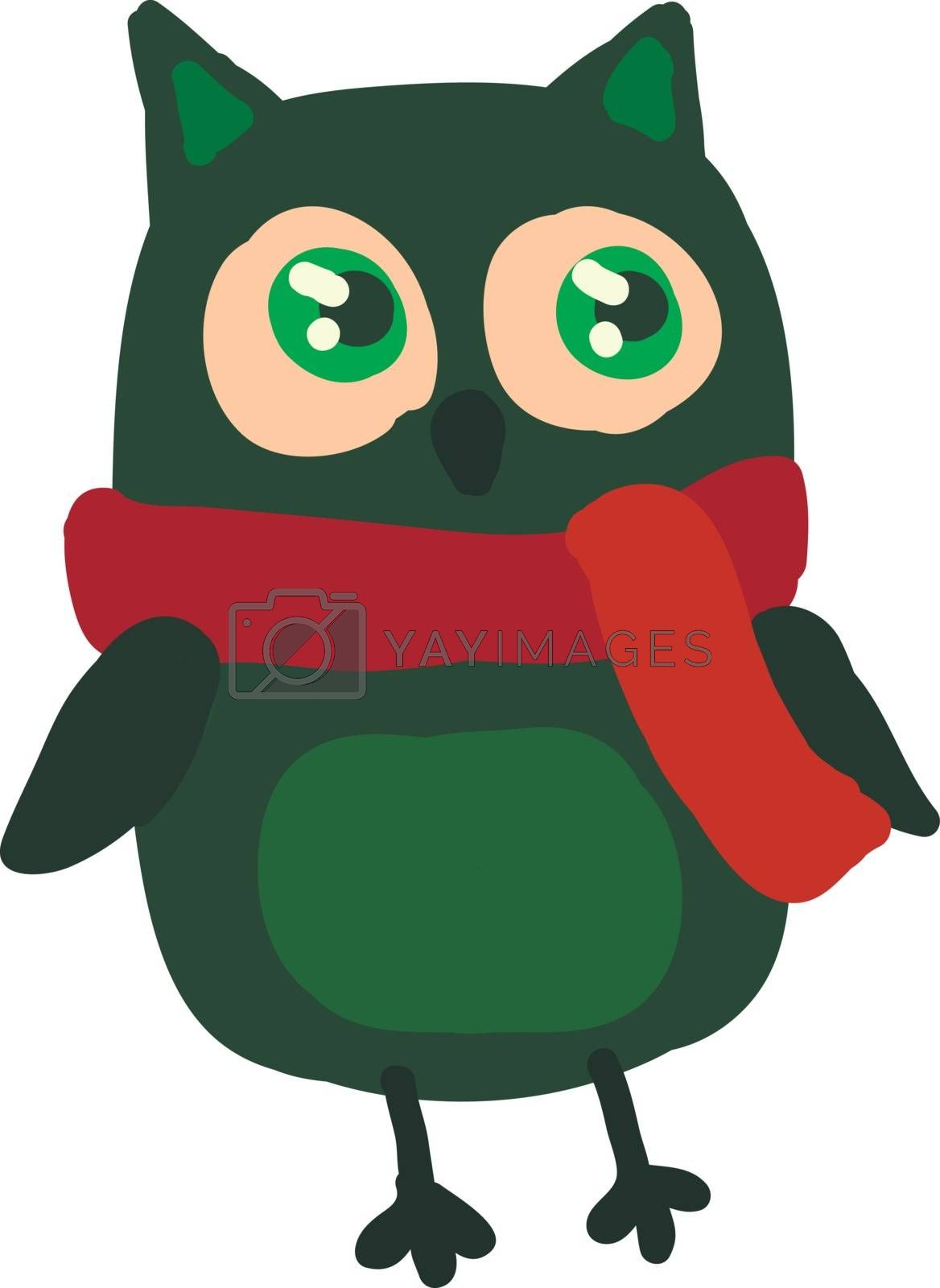 A green owl with pointed ears and glowing green eyes wearing a red scarf vector color drawing or illustration